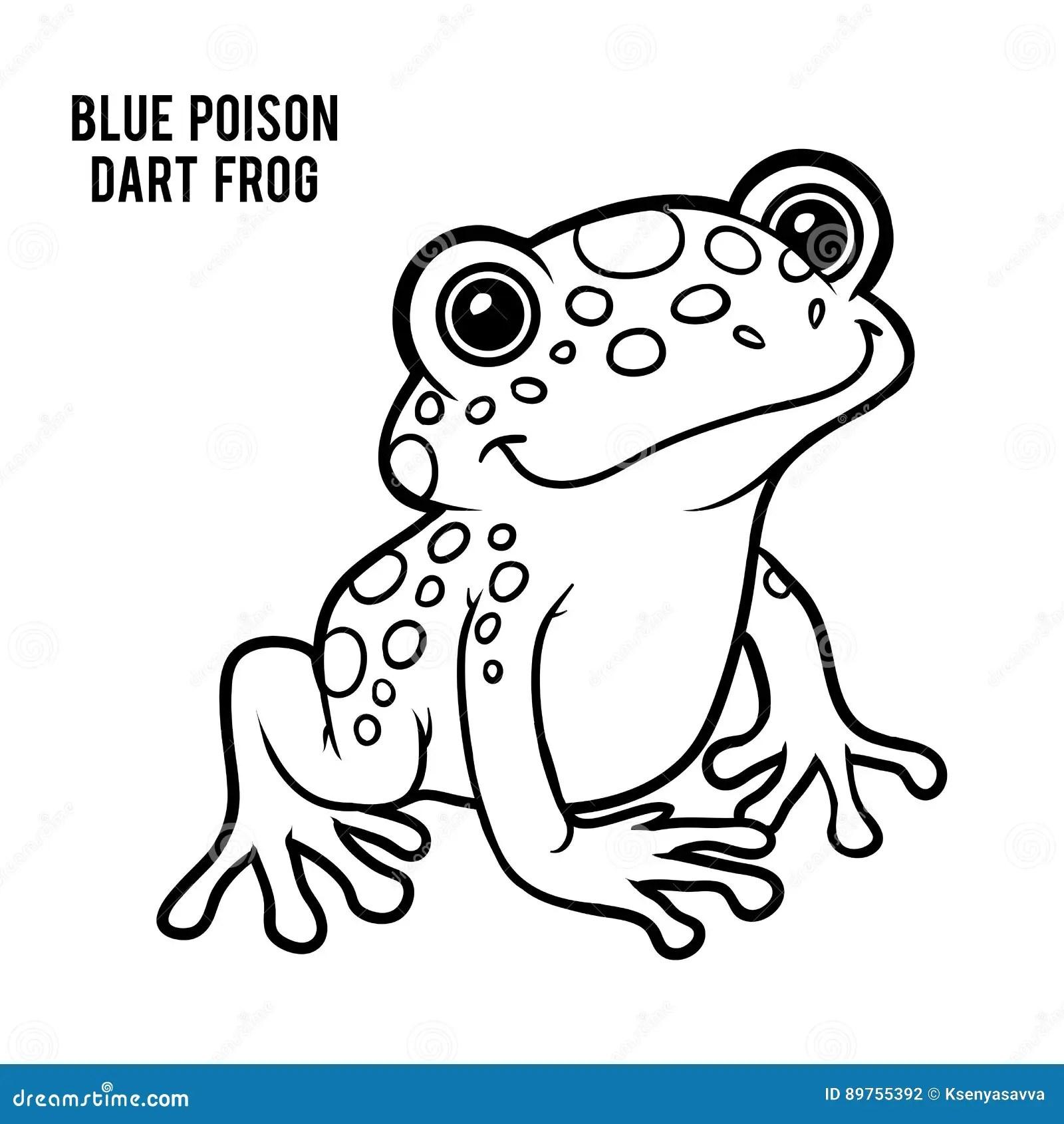Coloring Book Blue Poison Dart Frog Stock Vector