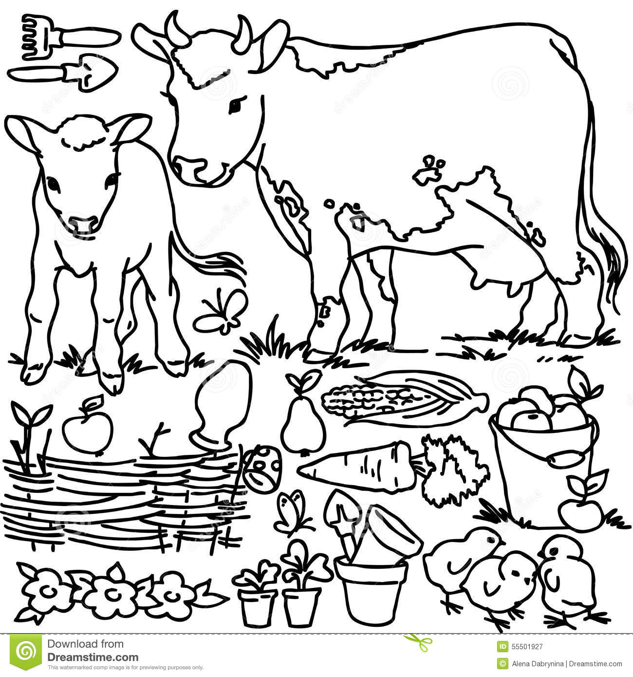 Coloring Book Cartoon Farm Animals Stock Illustration