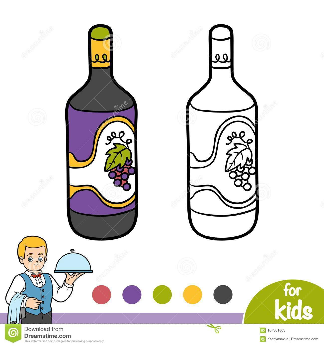 Coloring Book Bottle Of Wine Stock Vector