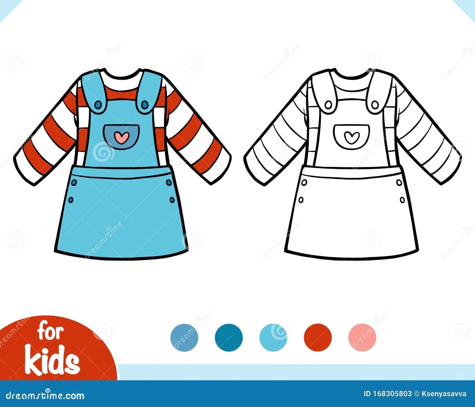 Coloring Book Denim Overalls Dress Stock Vector