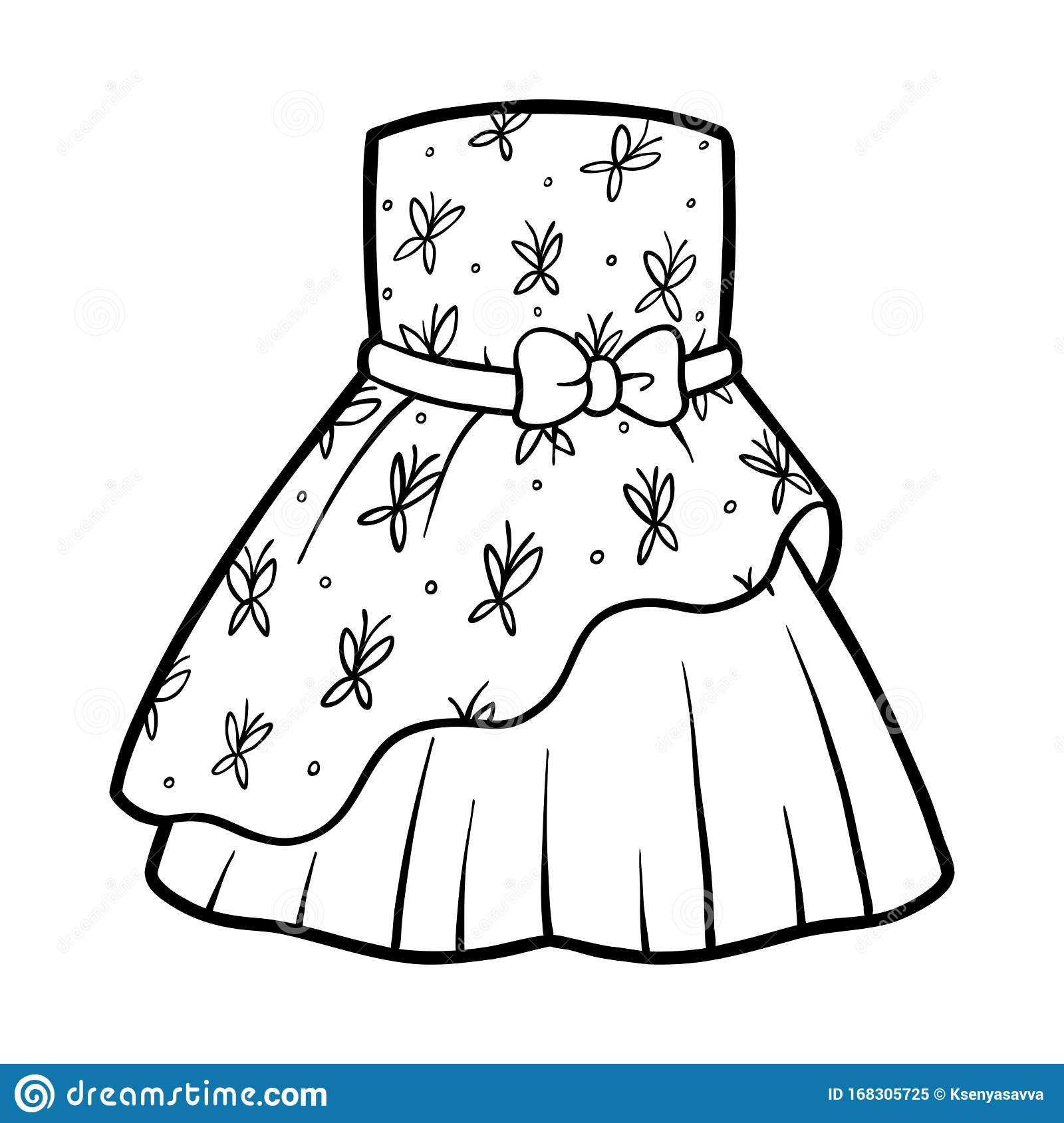 Coloring Book Dress With Butterflies Pattern Stock Vector