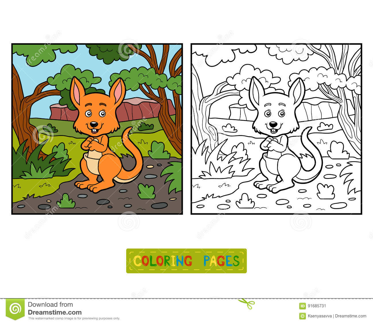 Coloring Book For Children Kangaroo Stock Vector
