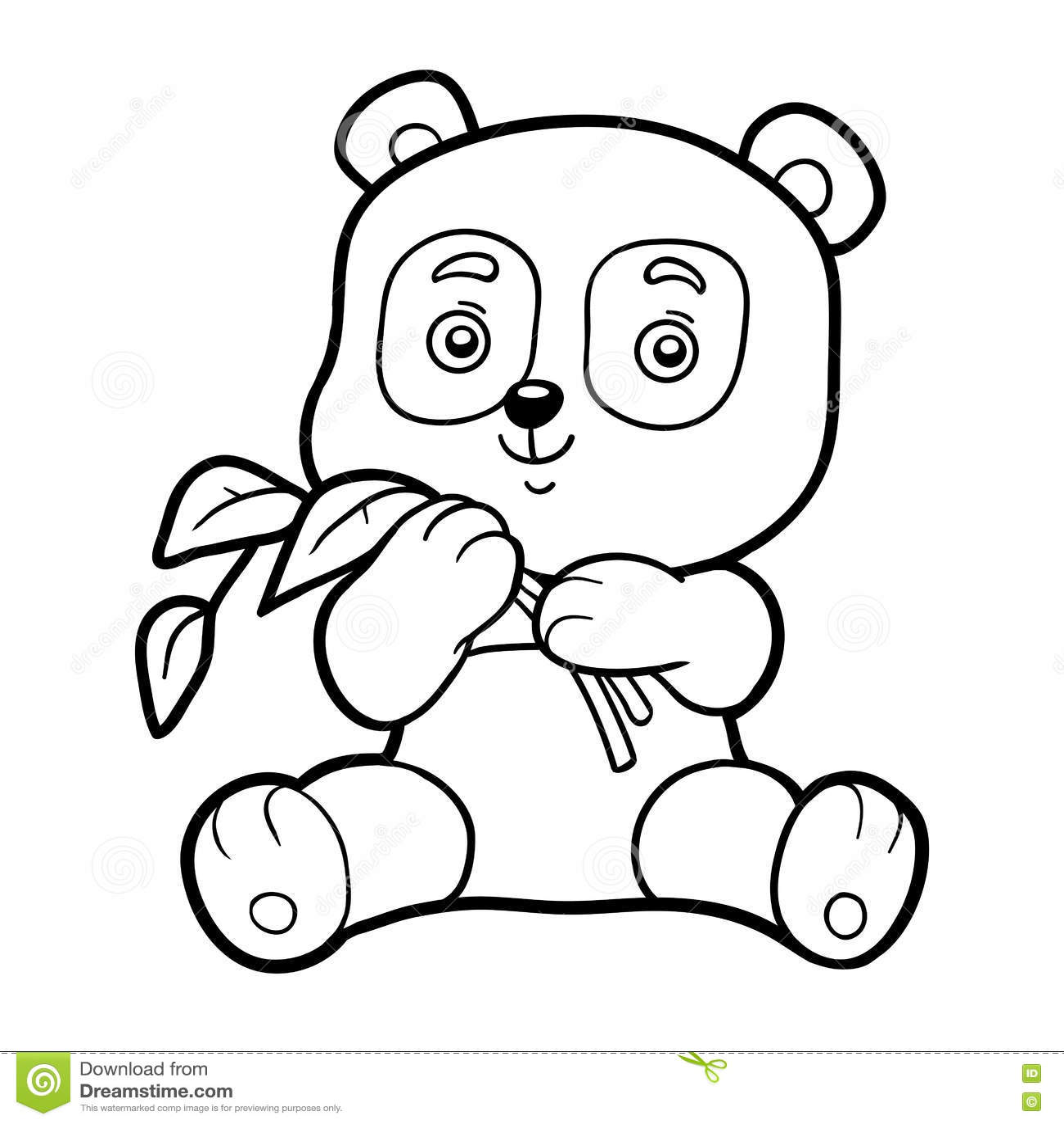 Coloring Book For Children Little Panda Stock Vector