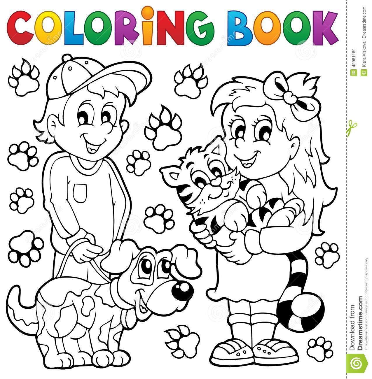Coloring Book Children With Pets Stock Vector