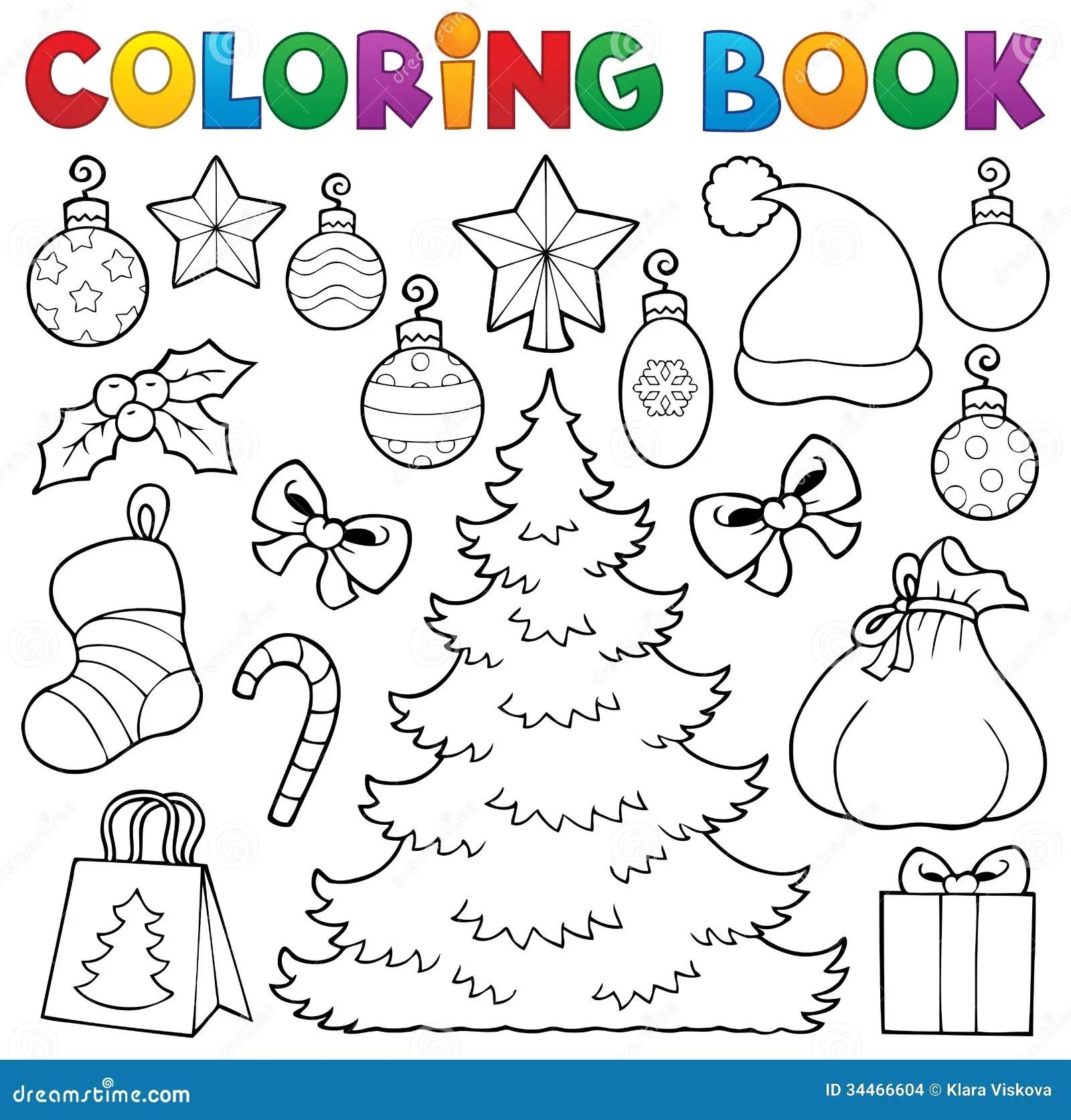 Coloring Book Christmas Decor 1 Stock Vector