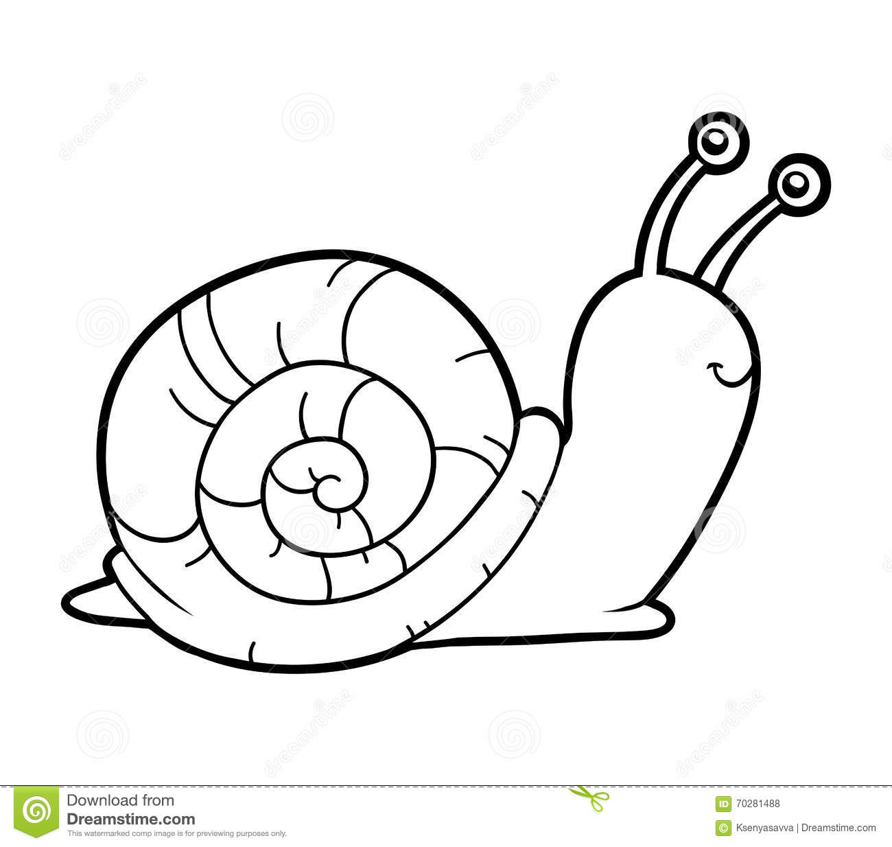 Coloring Book Coloring Page Snail Stock Vector