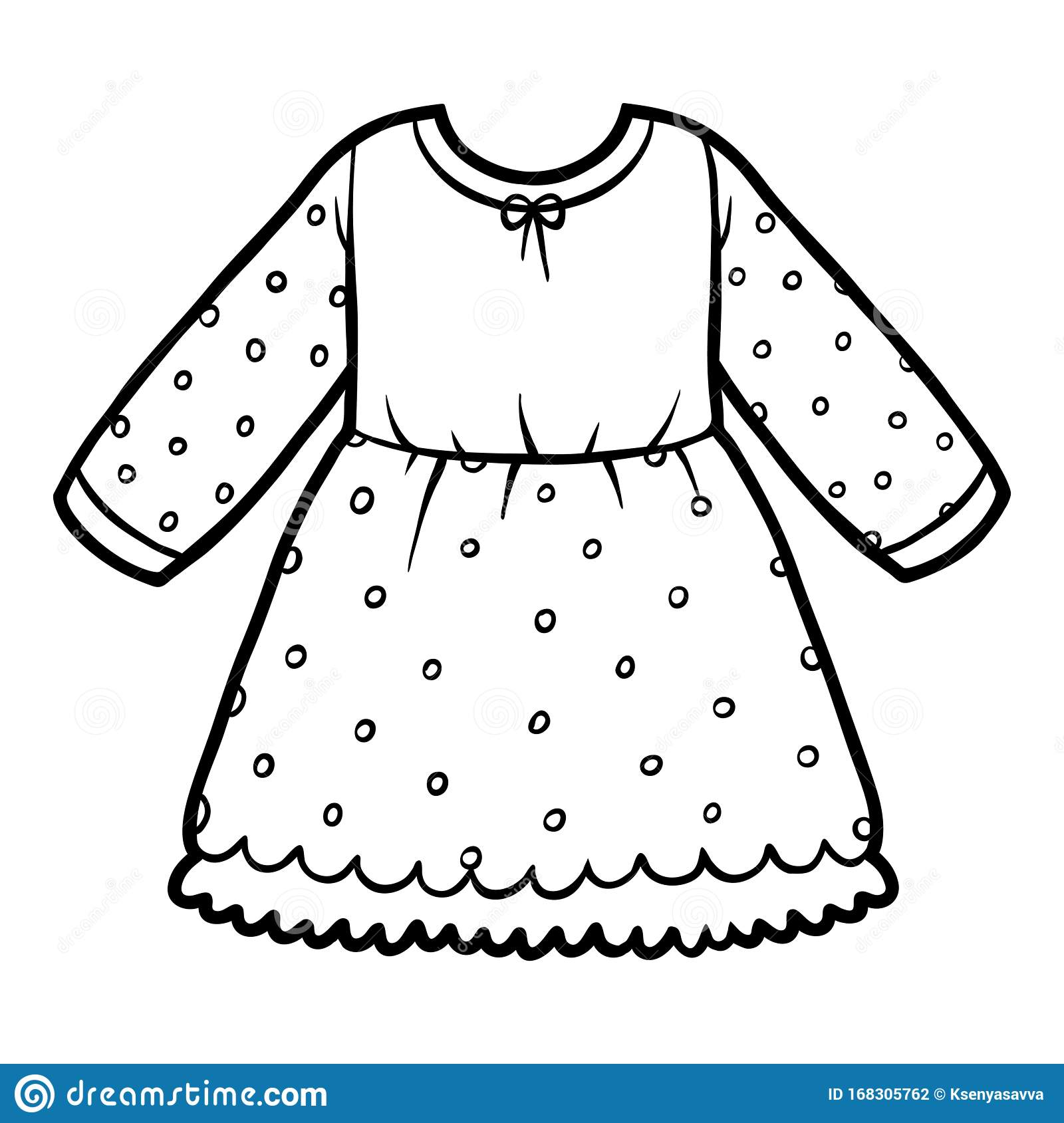 Coloring Book Dress With Polka Dots Stock Vector