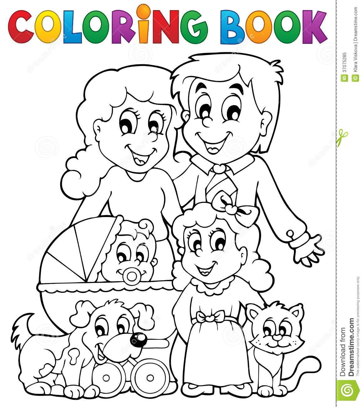 Coloring Book Family Theme Stock Vector Illustration Of