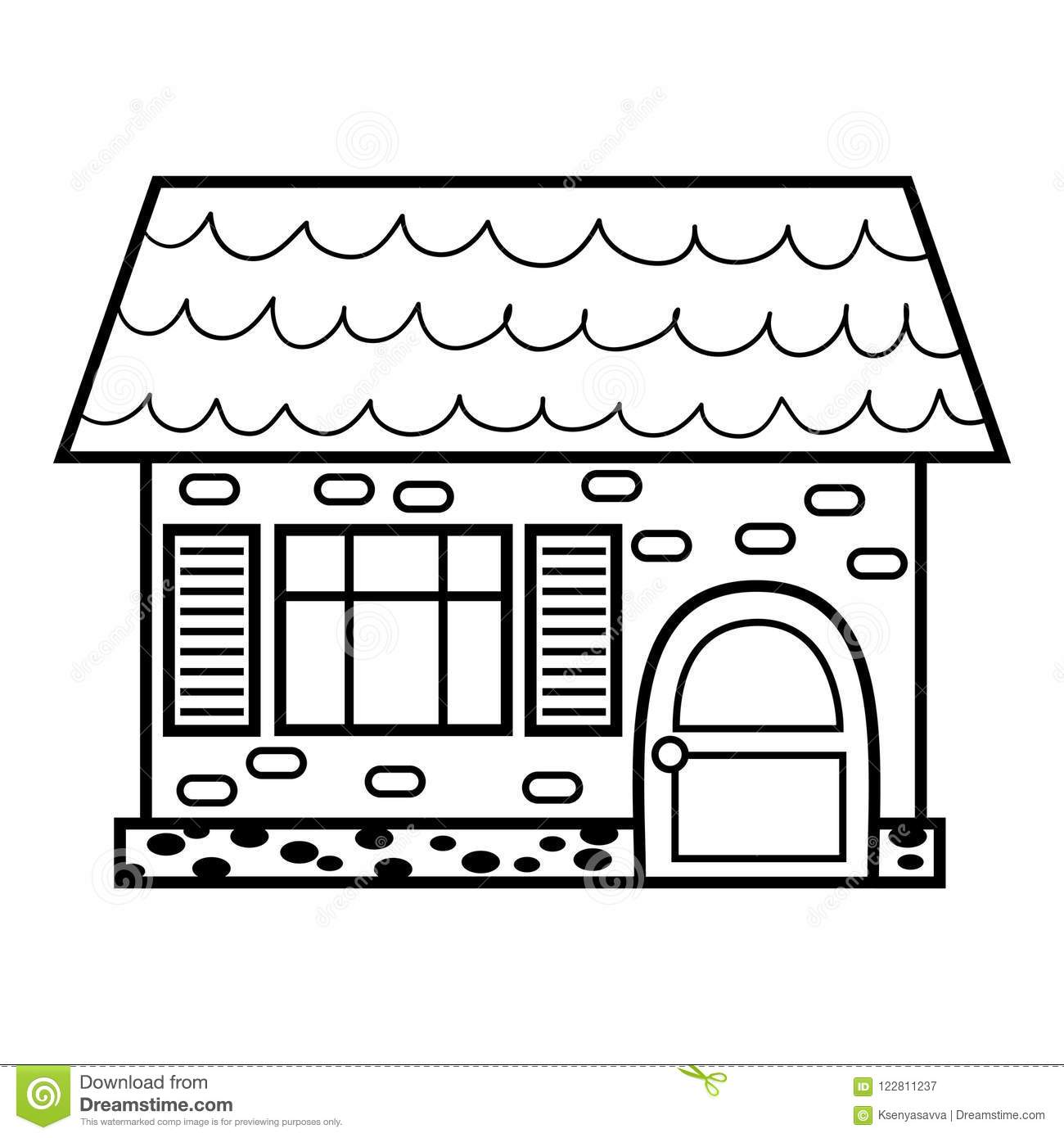 Coloring Book House Stock Vector Illustration Of Page