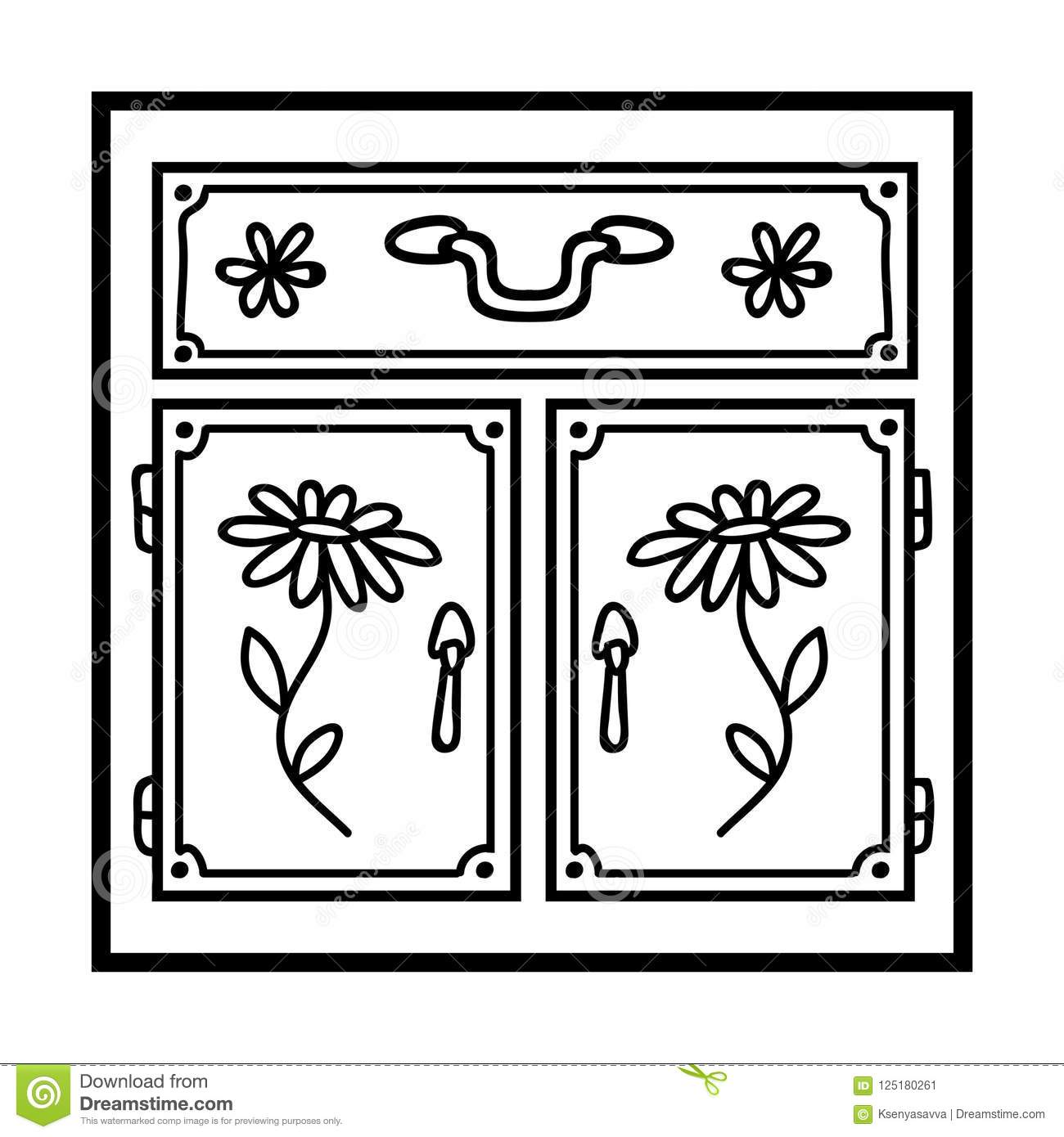 Coloring Book Kitchen Cabinet Stock Vector