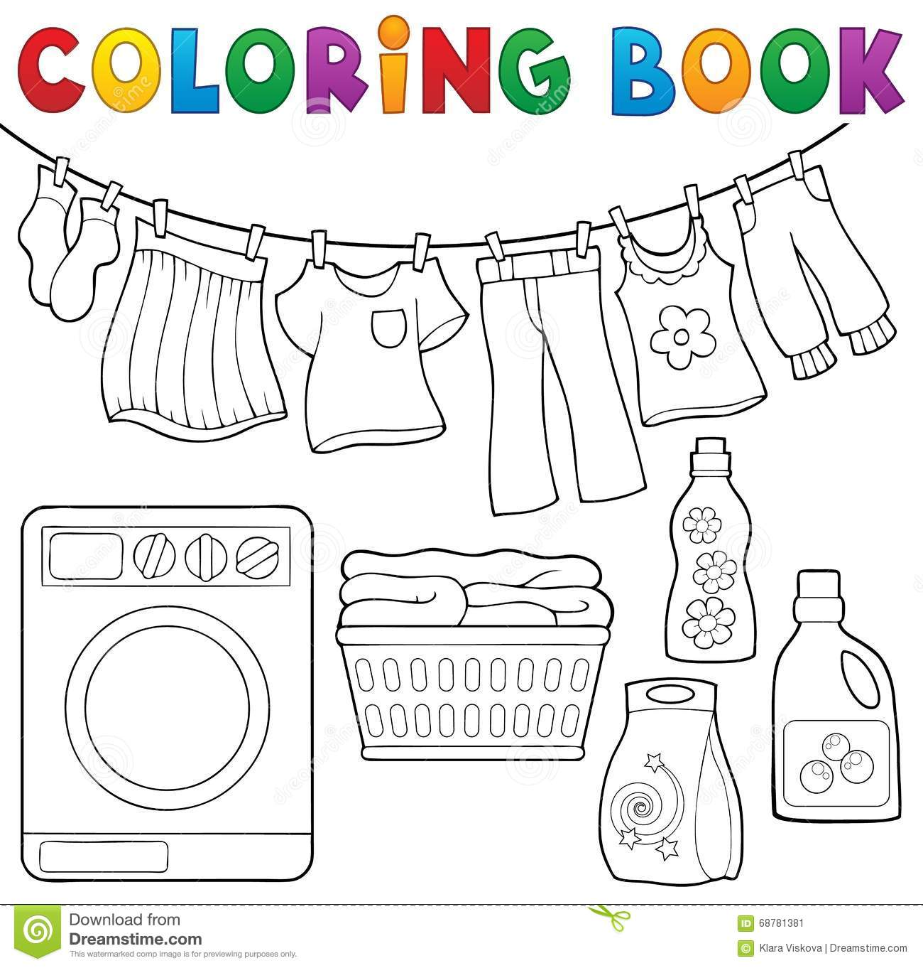 Coloring Book Laundry Theme 2 Stock Vector