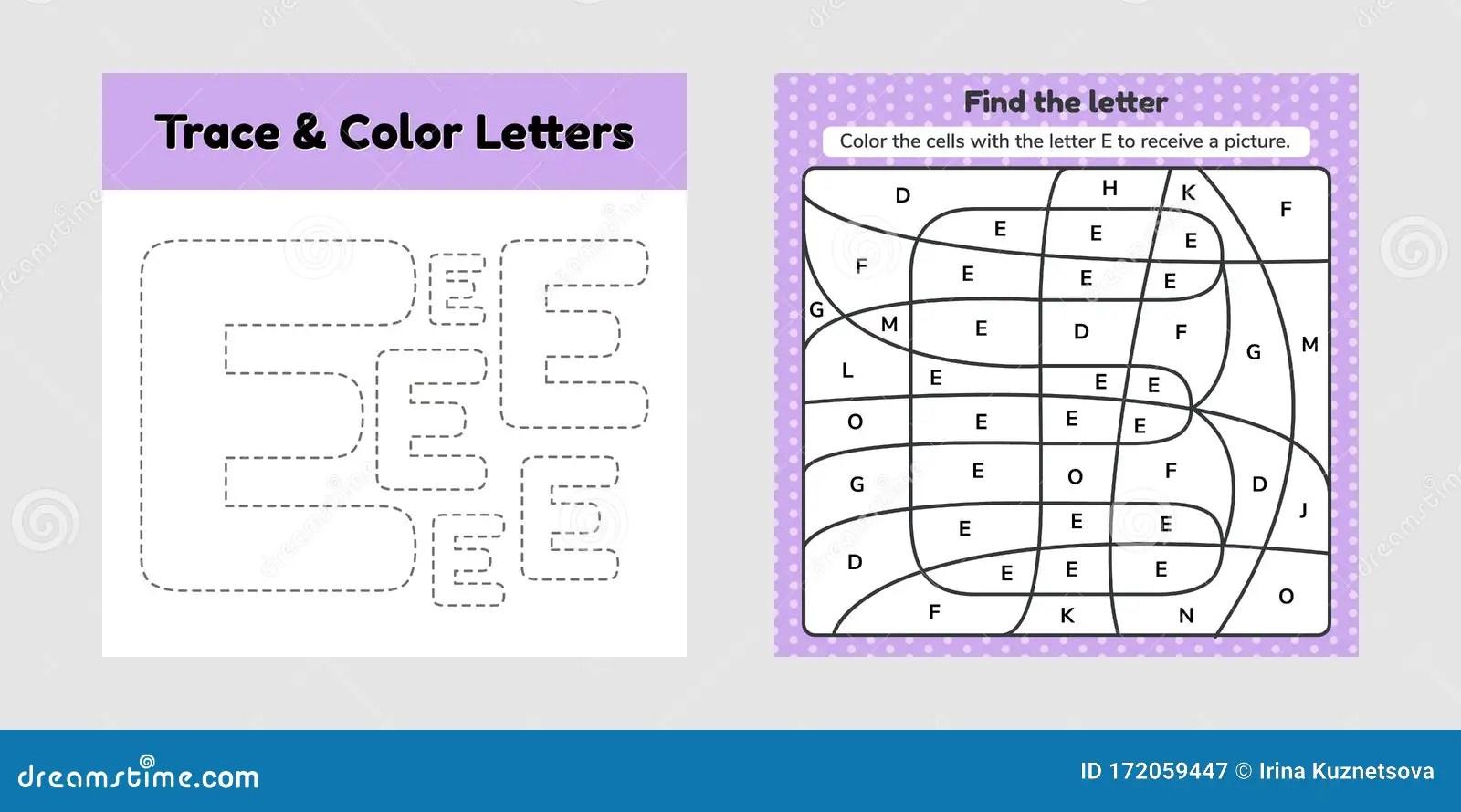 Coloring Book Letter For Kids Worksheet For Preschool