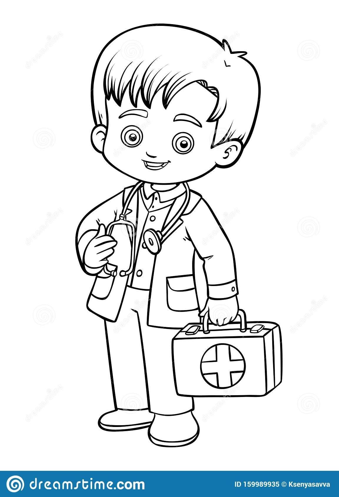 Coloring Book Little Boy Doctor Stock Vector