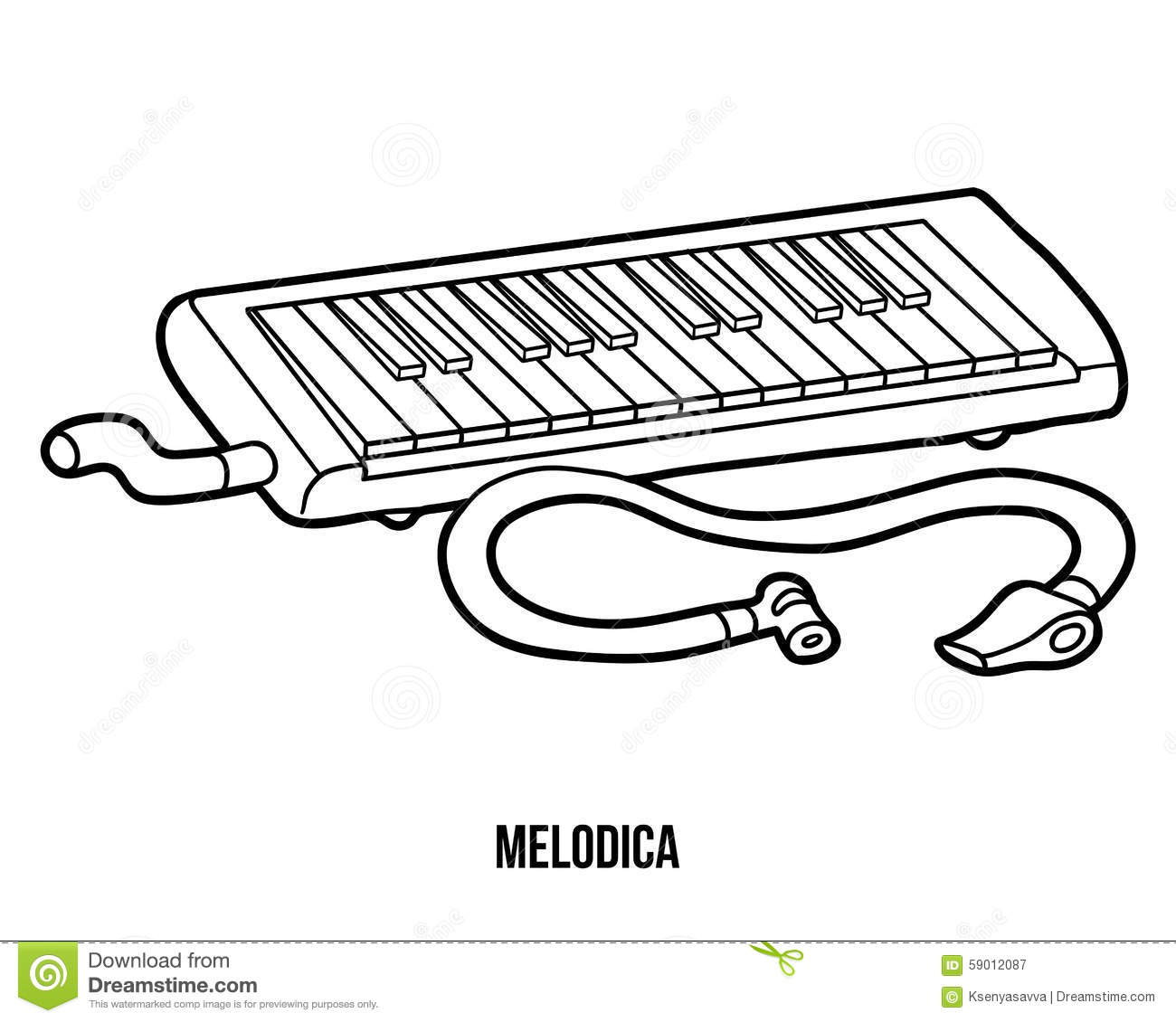 Coloring Book Musical Instruments Melodica Stock Vector