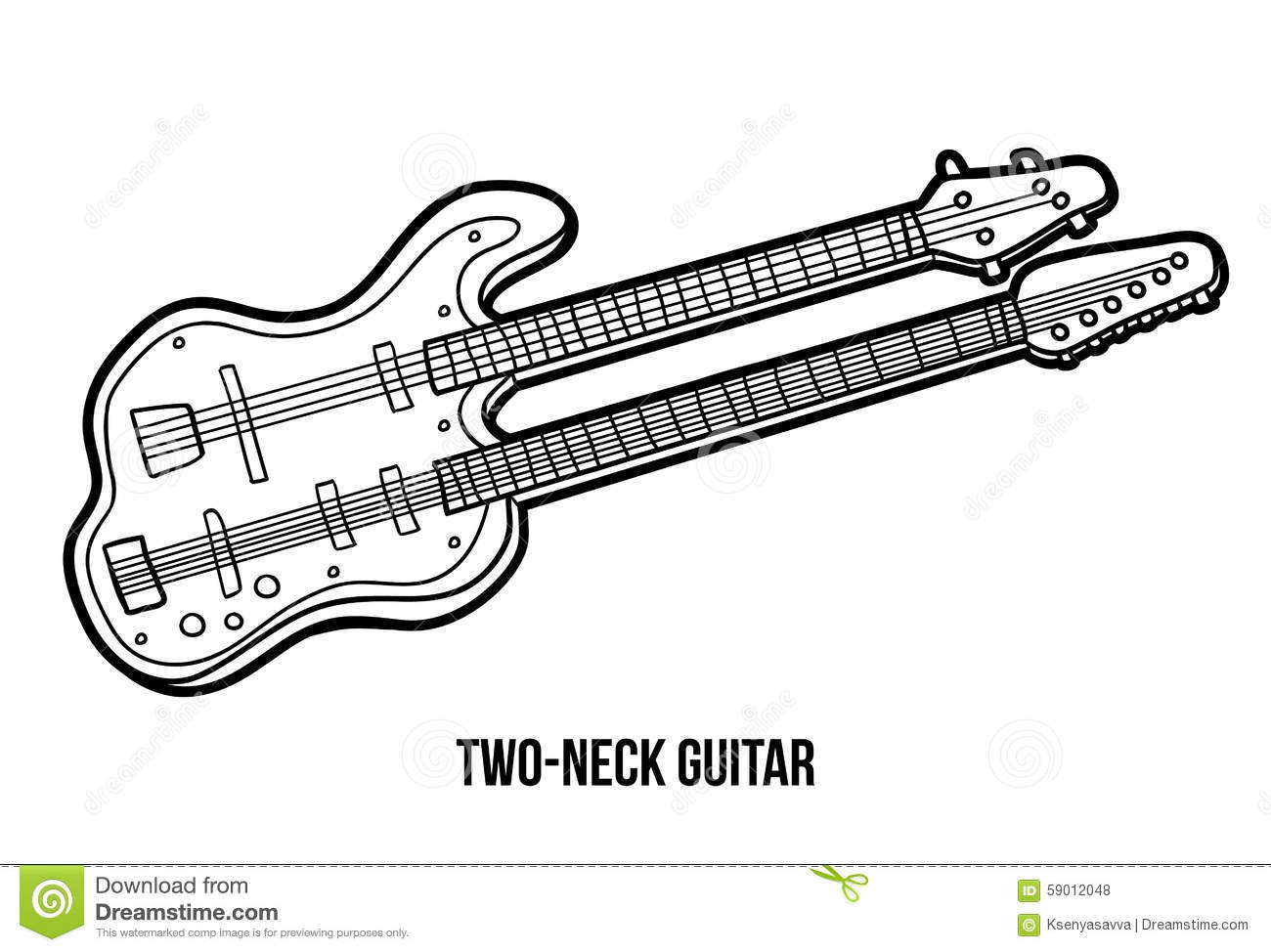 Coloring Book Musical Instruments Two Neck Guitar Stock