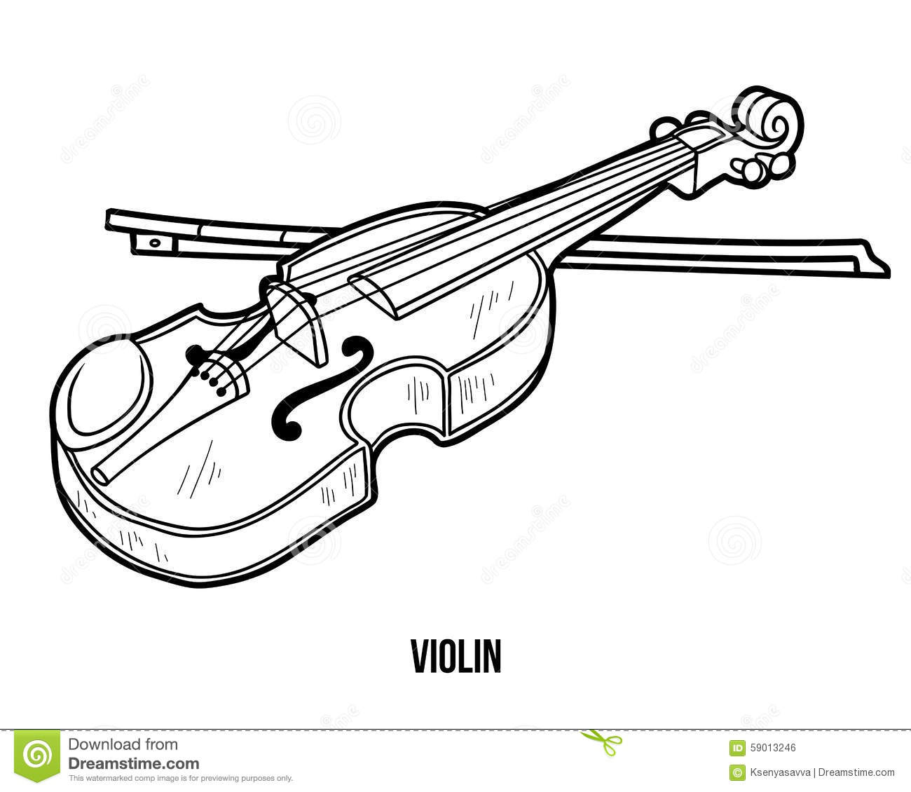 Coloring Book Musical Instruments Violin Stock Vector