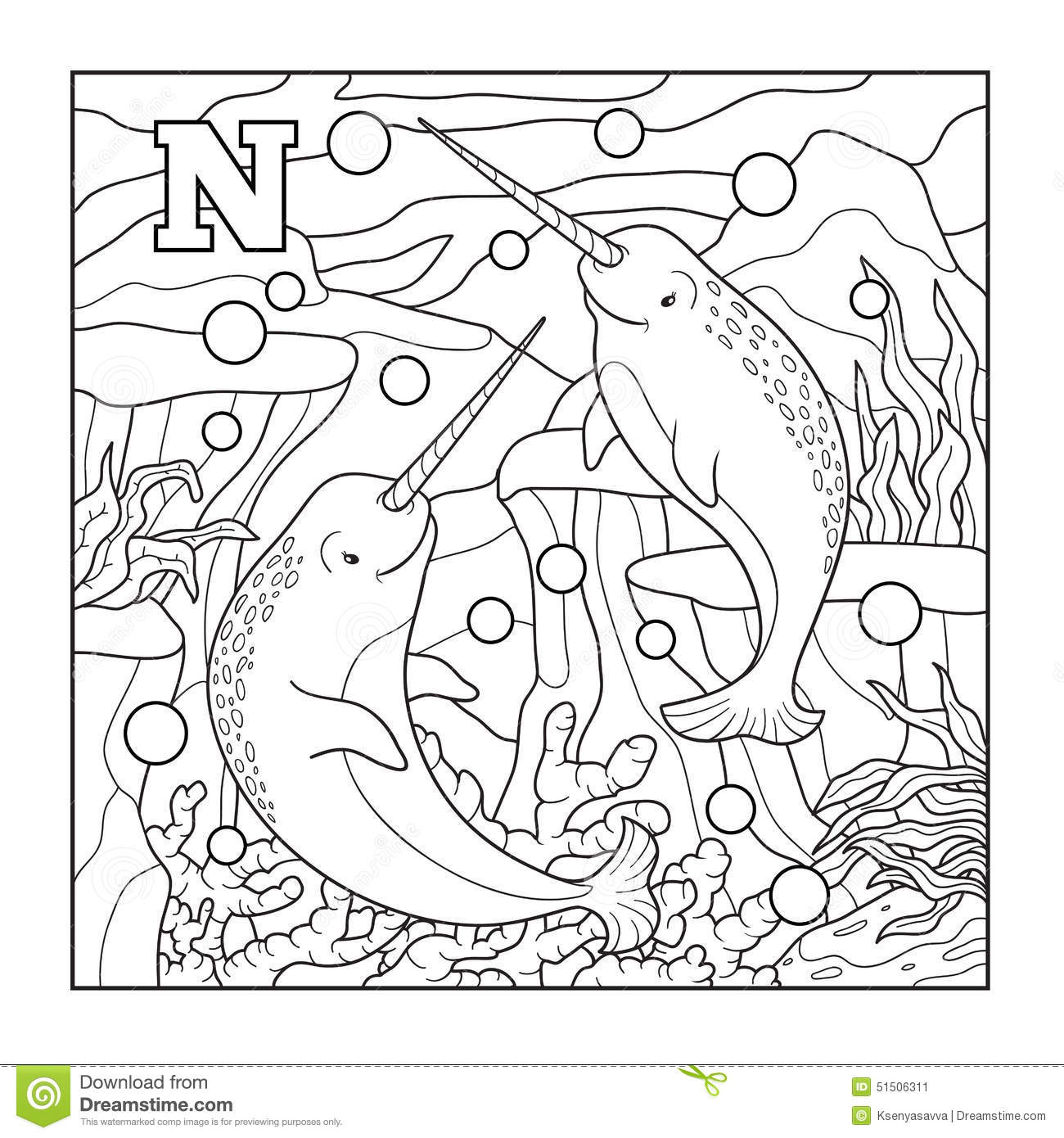 Coloring Book Narwhal Colorless Illustration Letter N