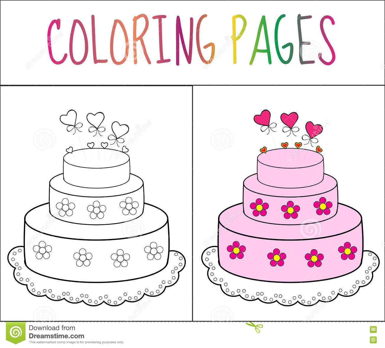 Coloring Book Page Cake Sketch And Color Version