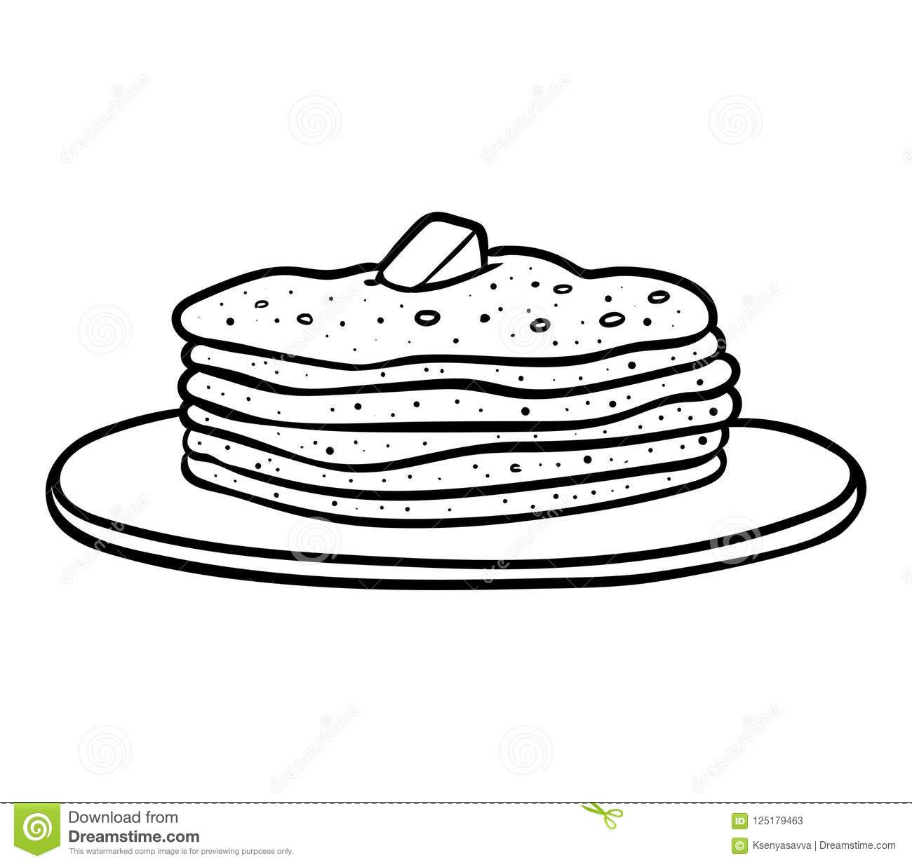 Coloring Book Pancakes Stock Vector Illustration Of