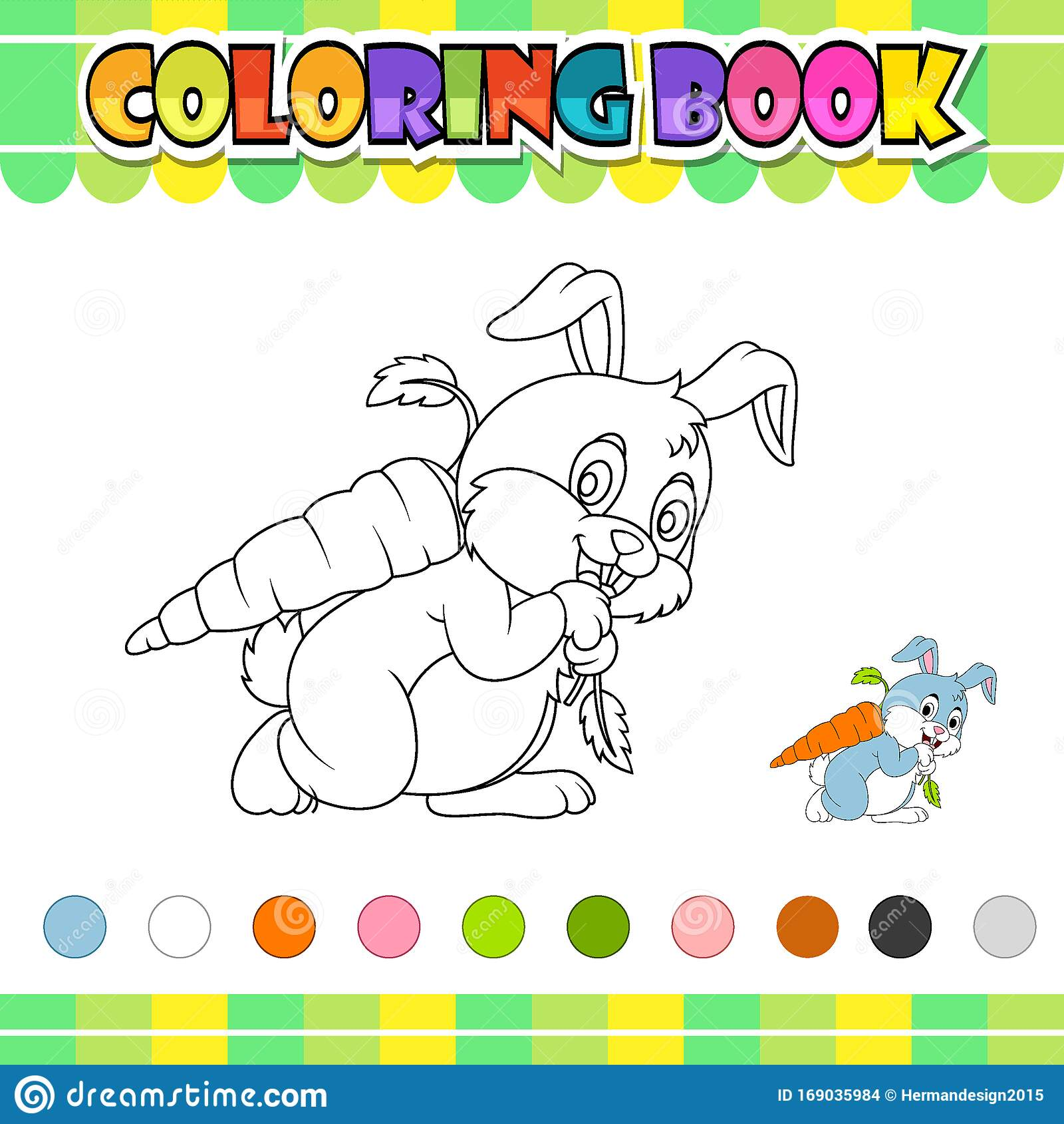 Coloring Book Rabbit Carrying Big Carrot Stock Vector