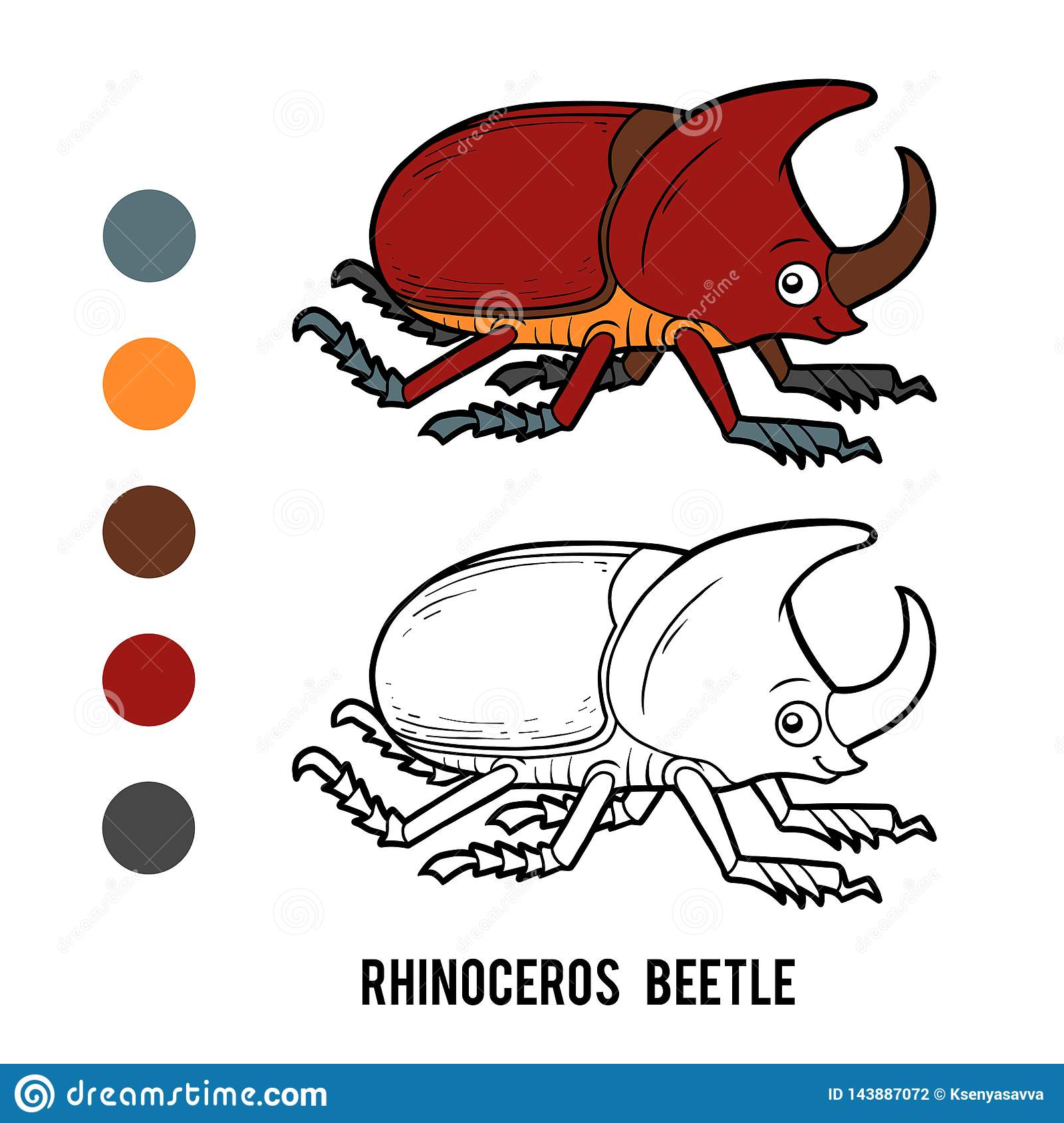Coloring Book Rhinoceros Beetle Stock Vector