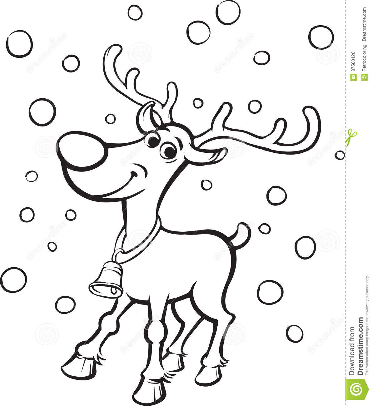 Coloring Book Rudolph The Red Nosed Reindeer Stock Vector