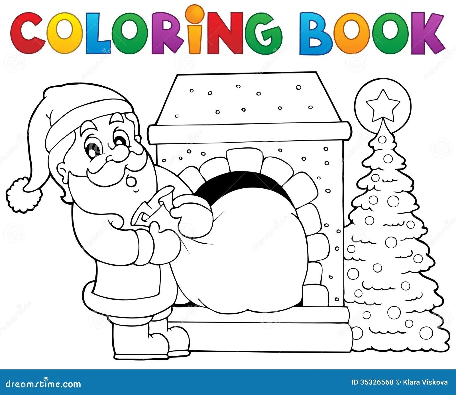 Coloring Book Santa Claus Theme 9 Stock Vector