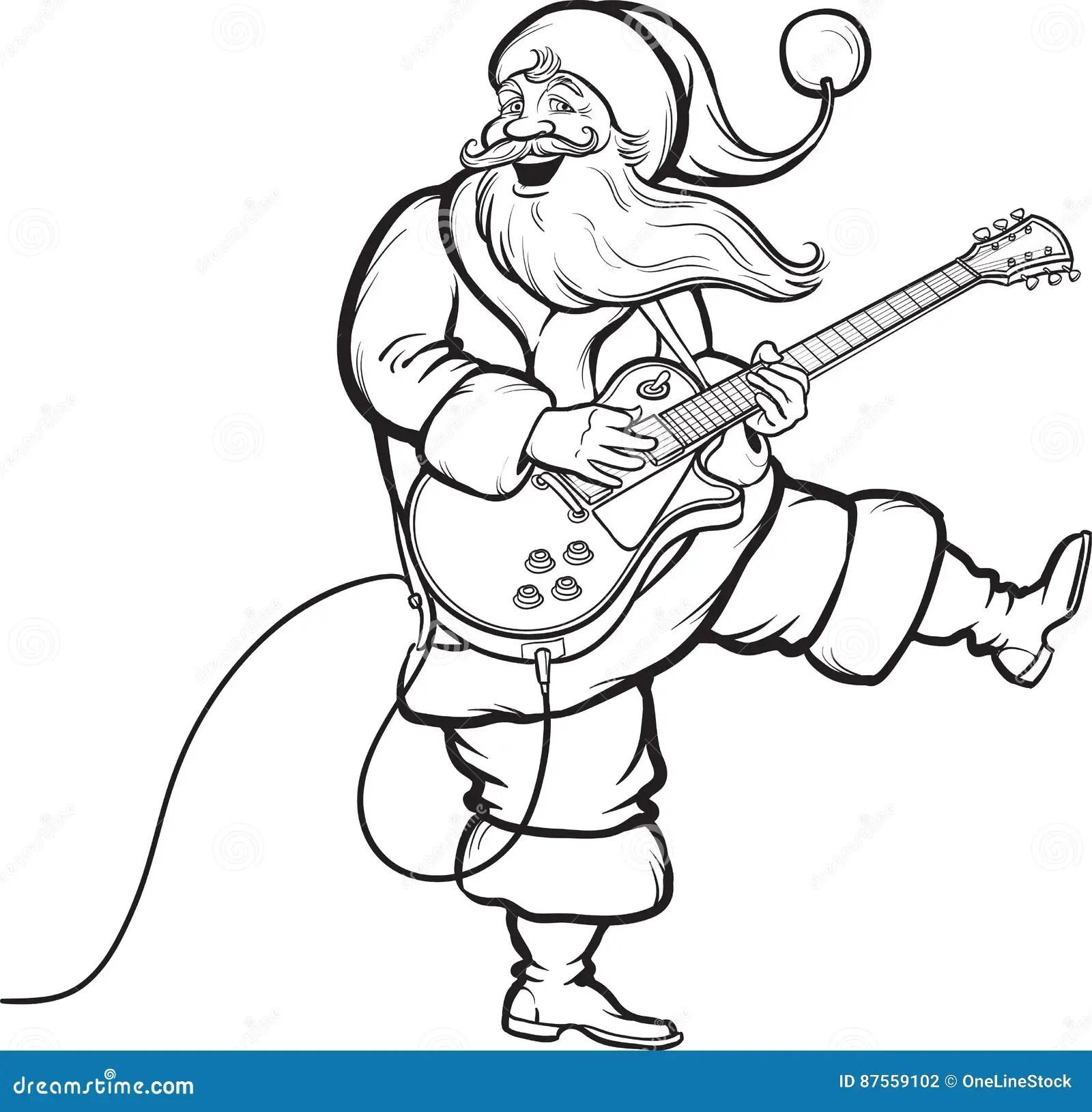 Coloring Book Of Santa Playing Electric Guitar Stock