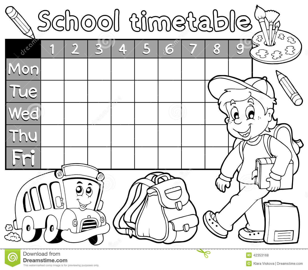 Coloring Book School Timetable 1 Stock Vector