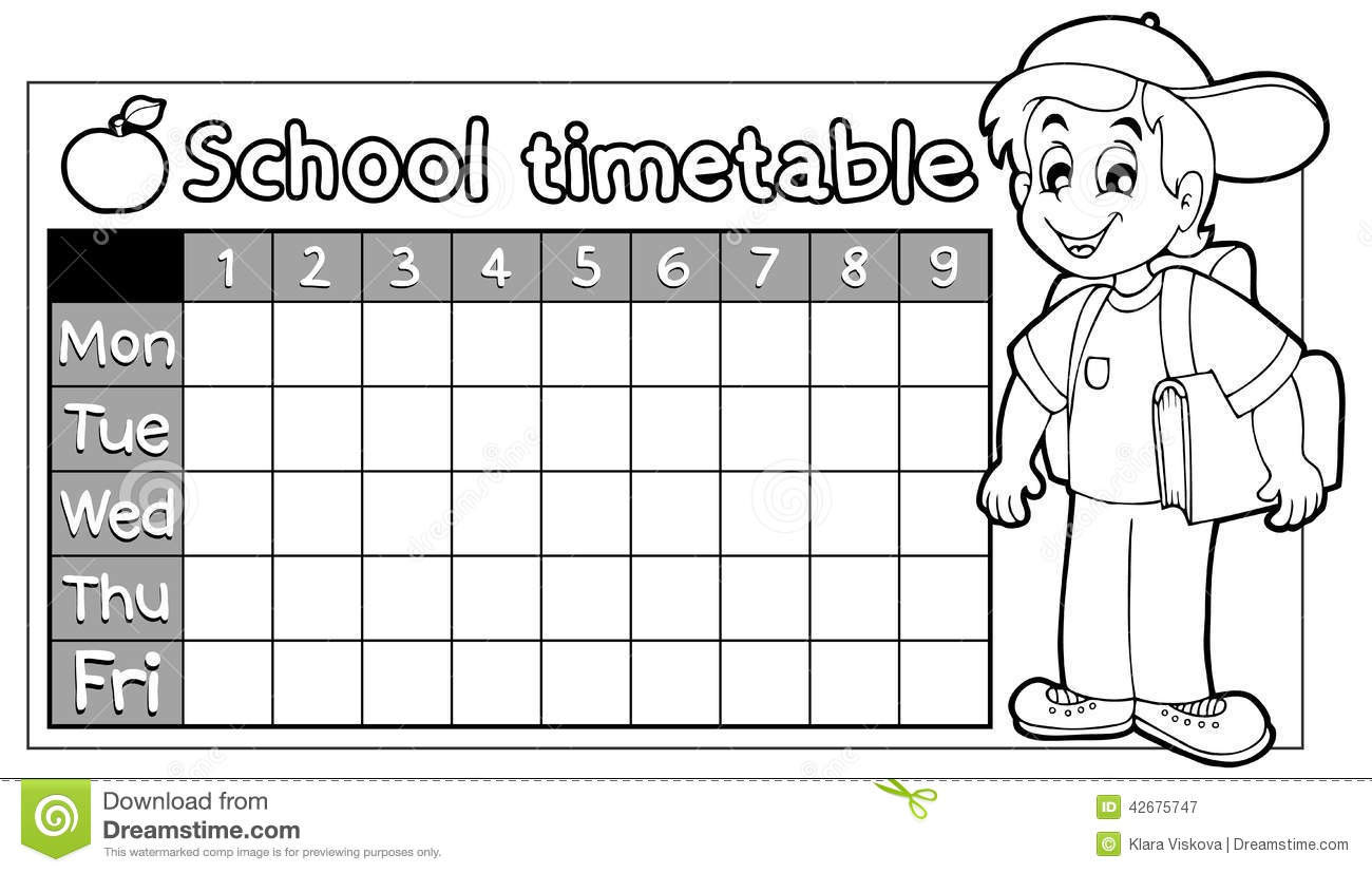 Coloring Book School Timetable 9 Stock Vector