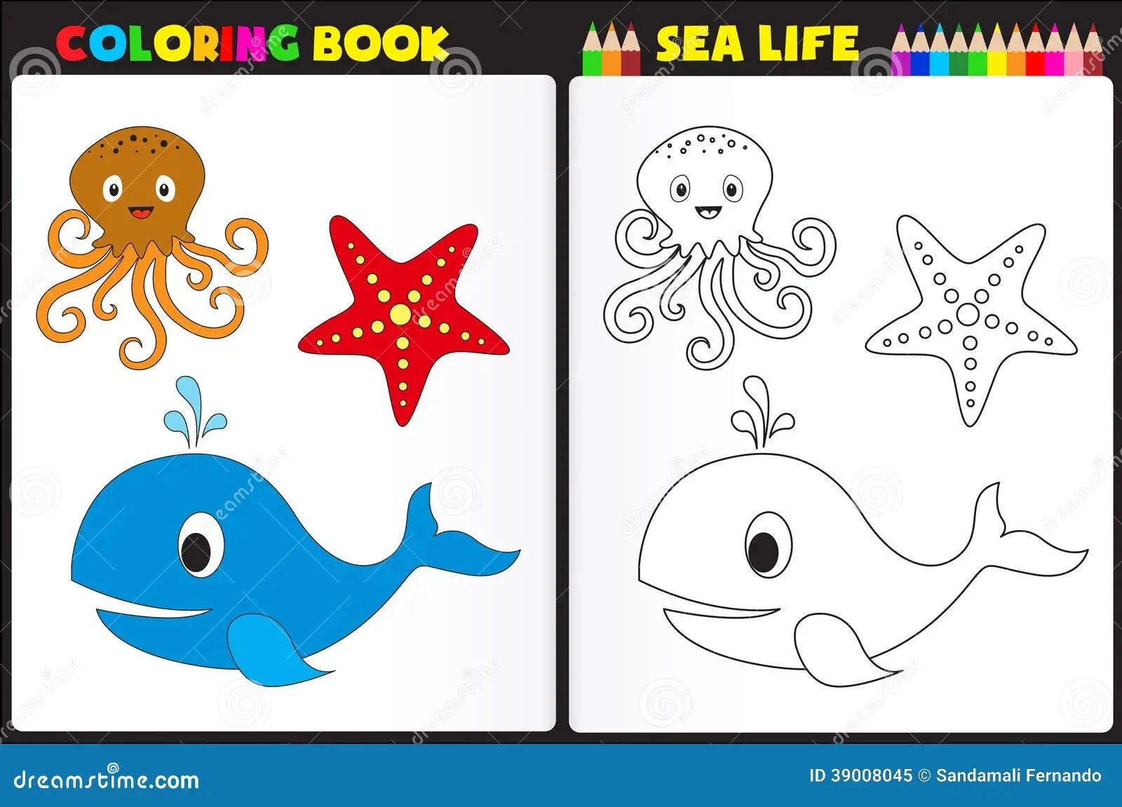 Coloring Book Sea Life Stock Vector