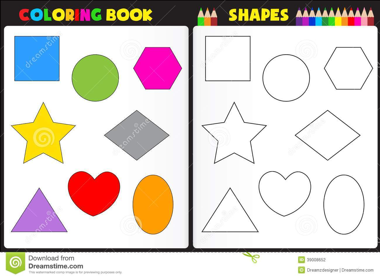 Coloring Book Shapes Stock Vector