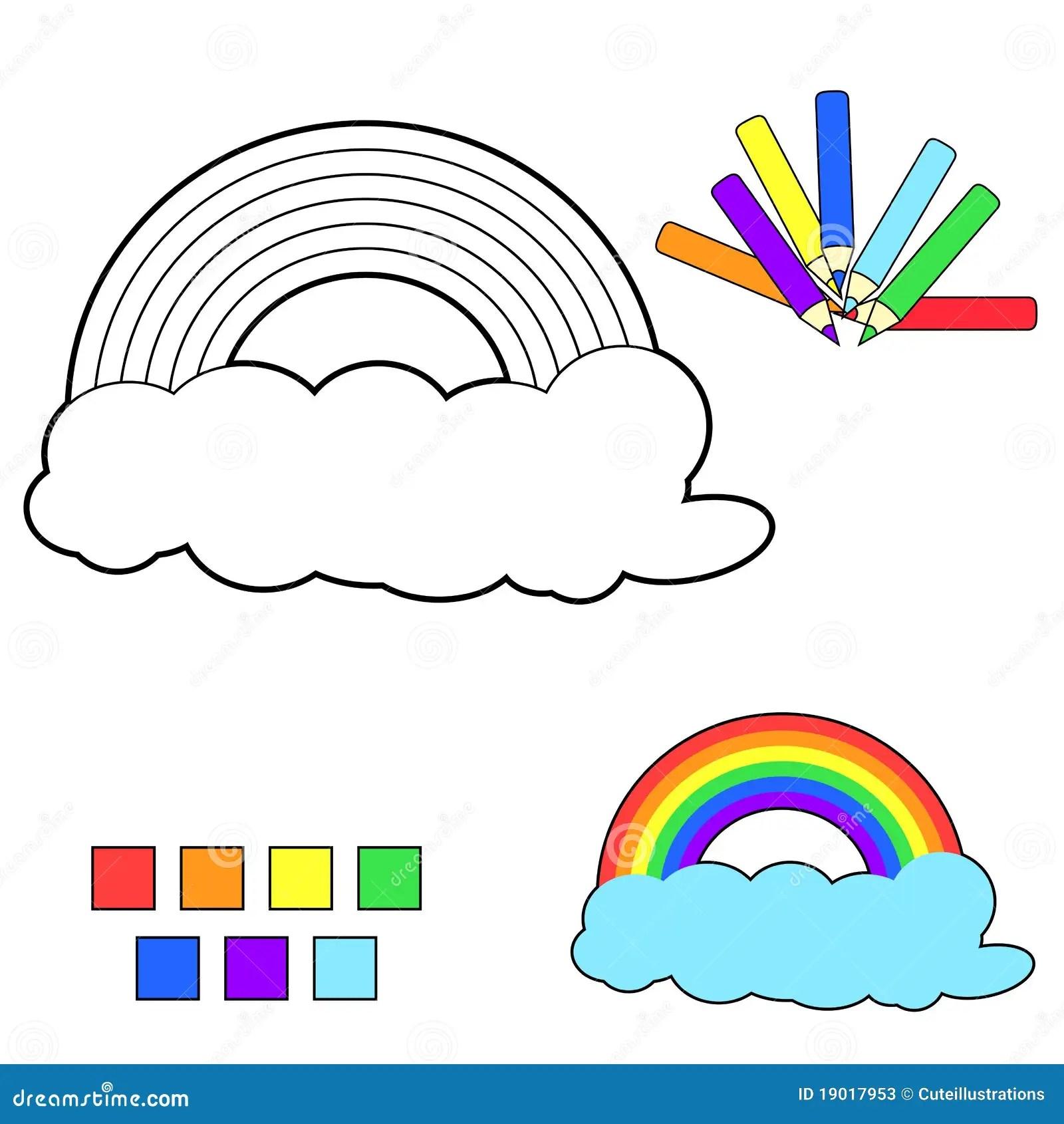 Coloring Book Sketch Rainbow Stock Vector