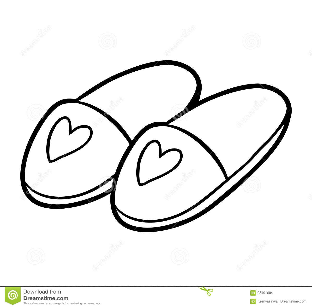 Coloring Book Slippers Stock Vector Illustration Of