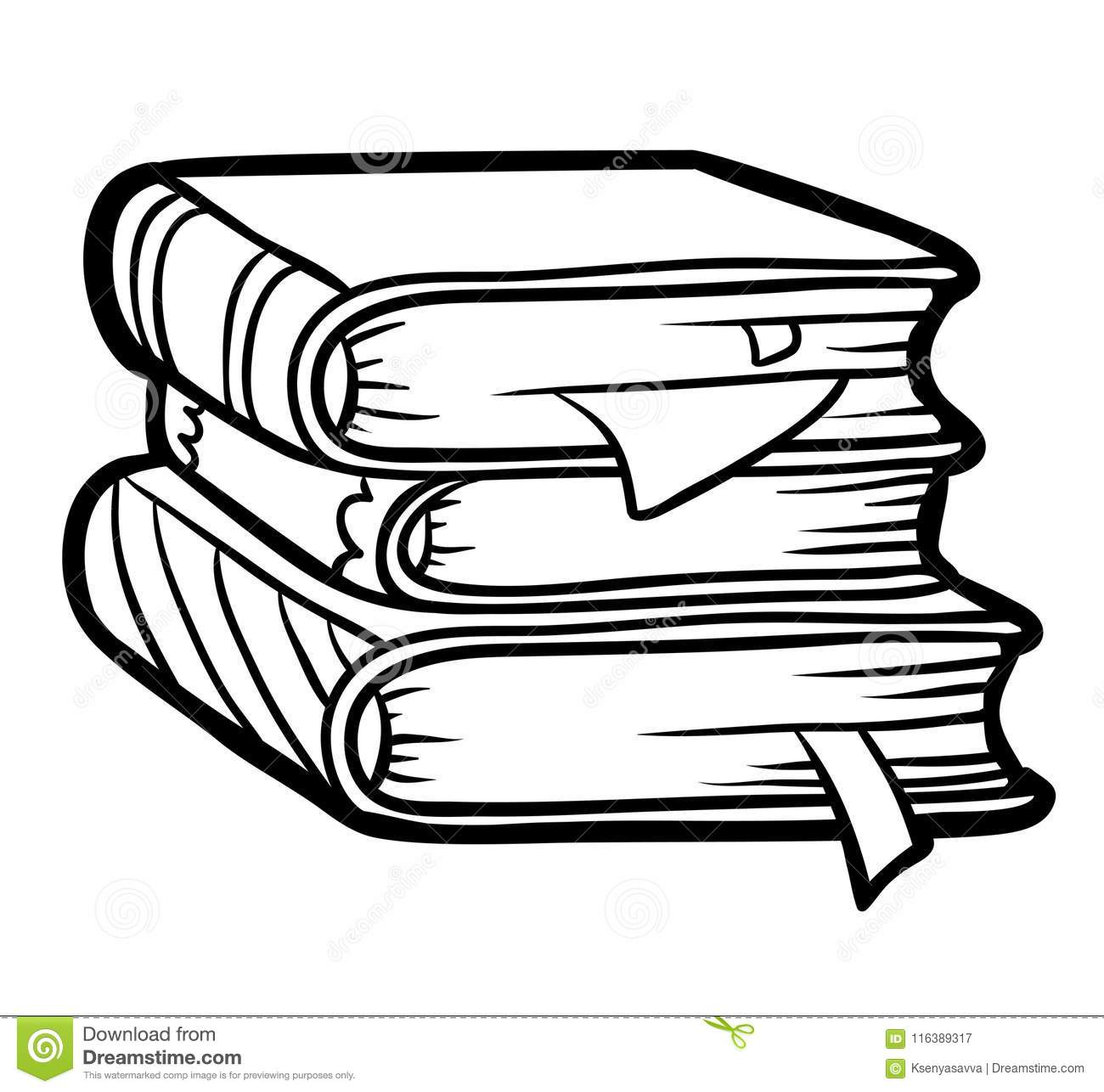 Coloring Book Stack Of Books Stock Vector
