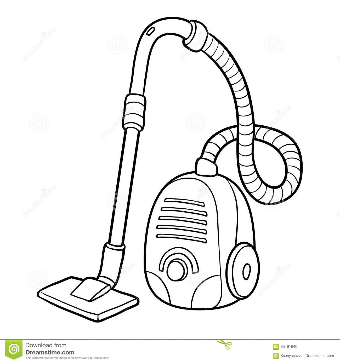 Coloring Book Vacuum Cleaner Stock Vector