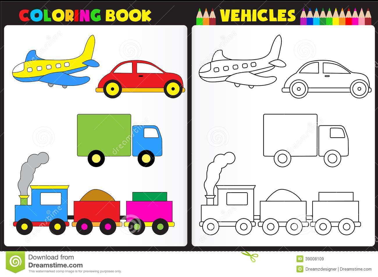Coloring Book Vehicles Stock Vector Image Of Material