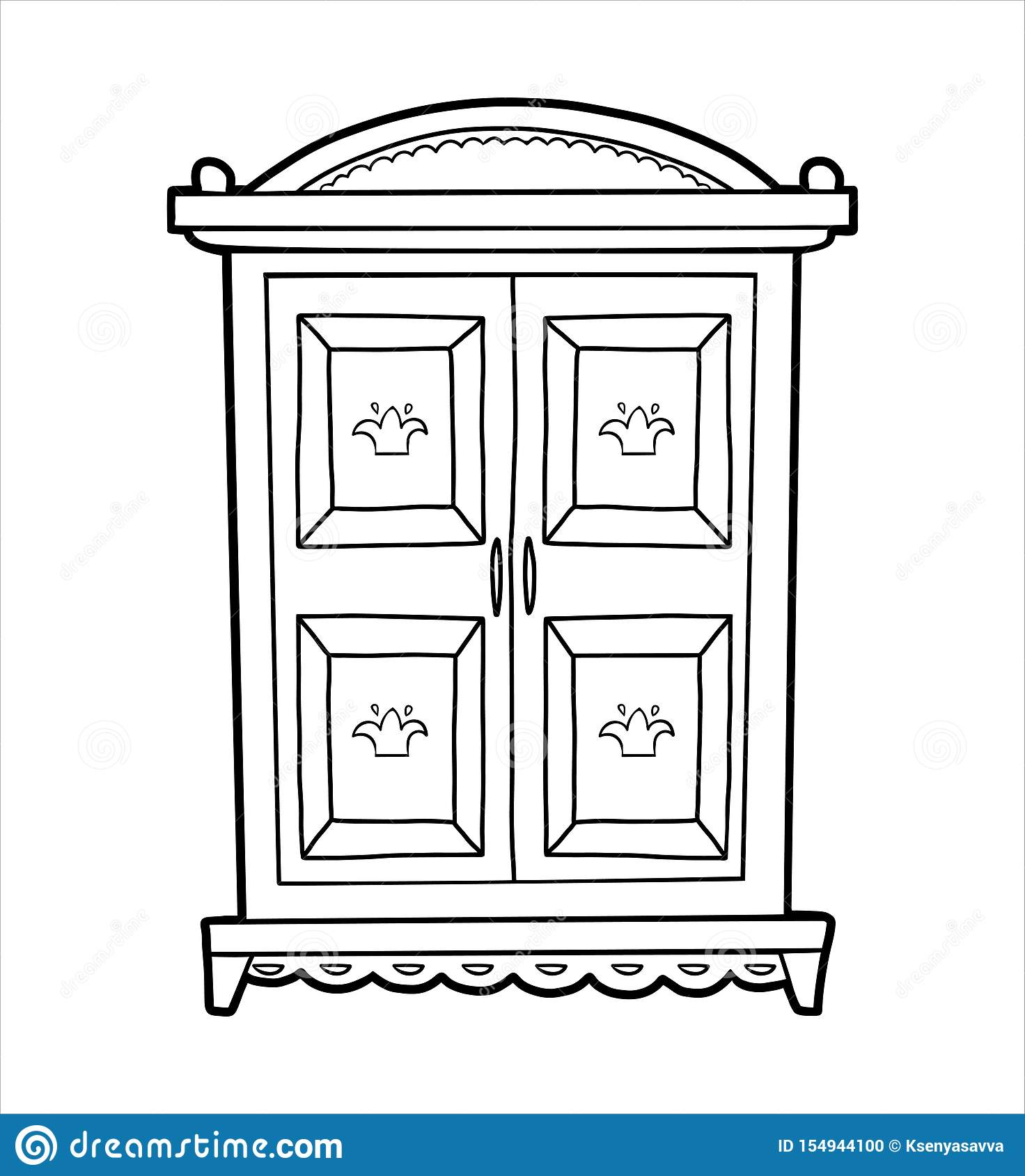 Coloring Book Wardrobe Stock Vector Illustration Of Page