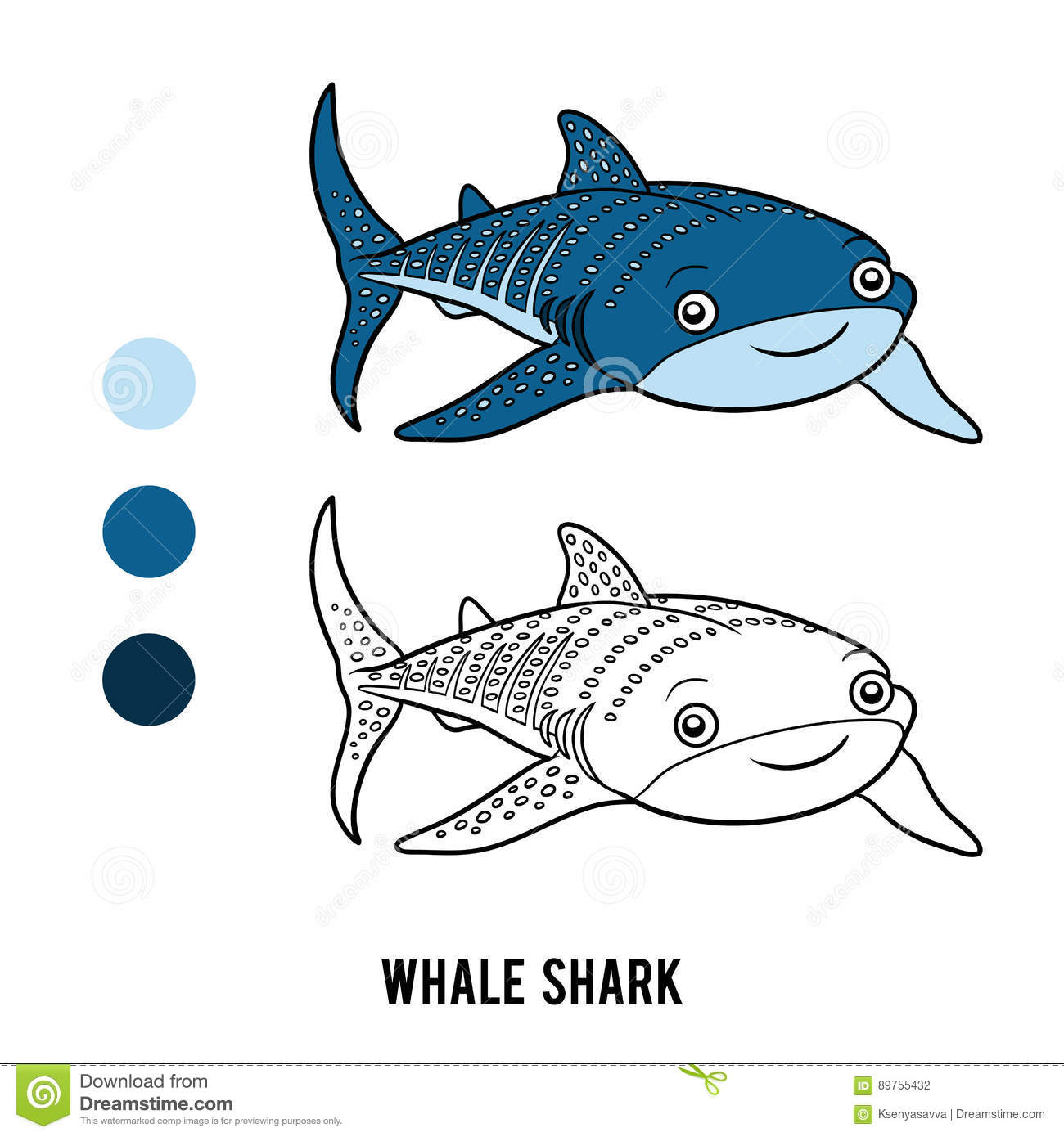 Coloring Book Whale Shark Stock Vector Illustration Of
