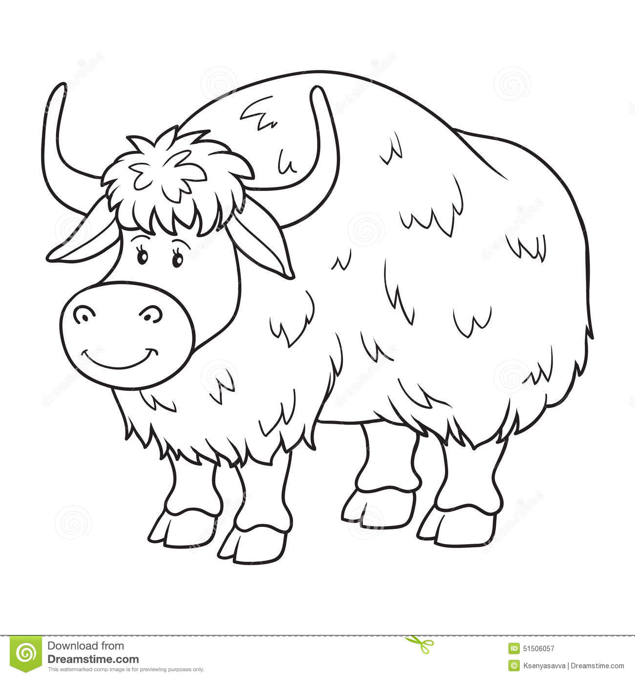 Coloring Book Yak Stock Vector Illustration Of Jersey