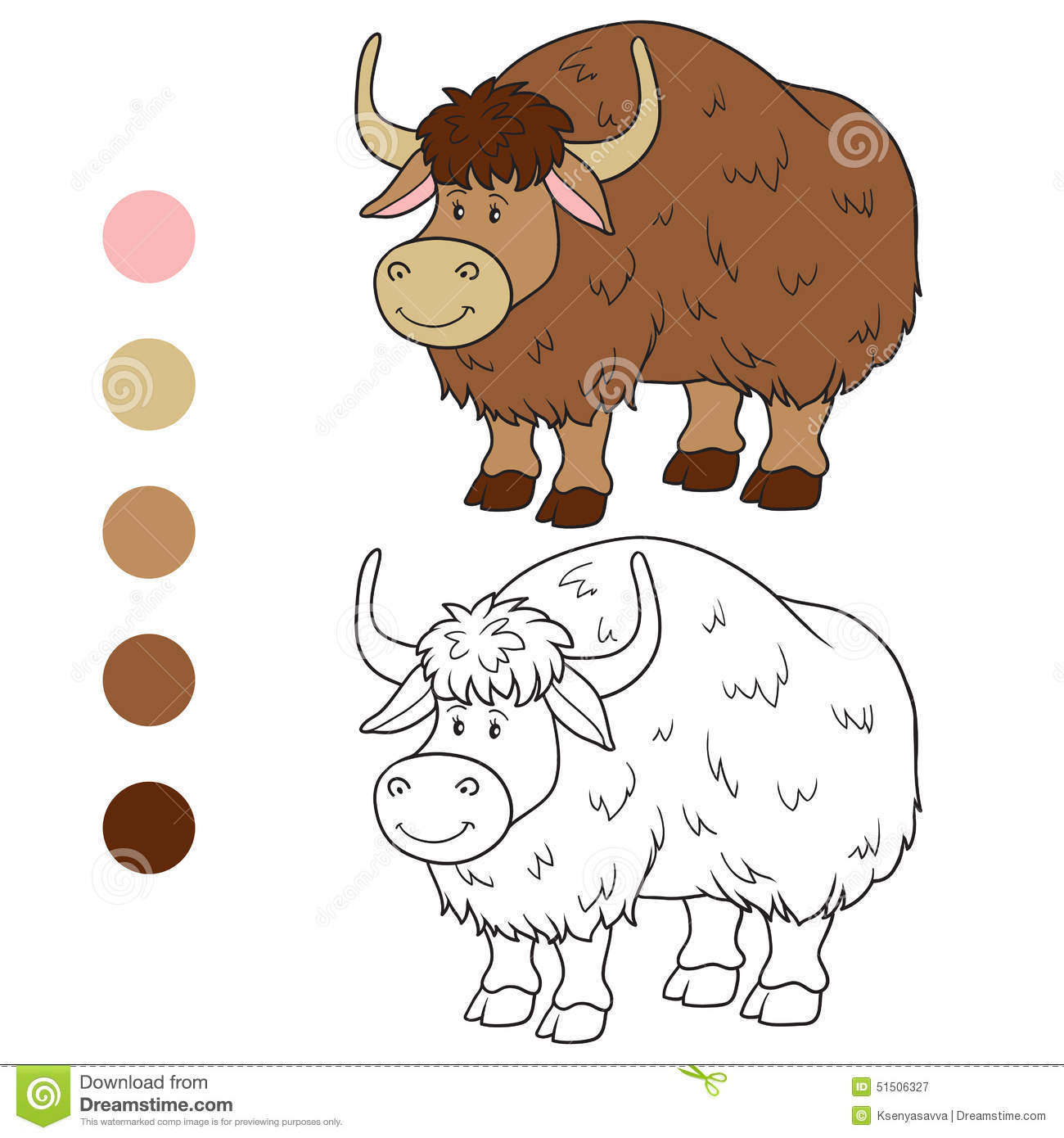 Coloring Book Yak Stock Vector Illustration Of Happy