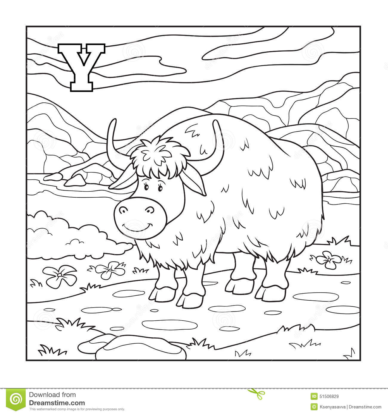 Coloring Book Yak Colorless Illustration Letter Y
