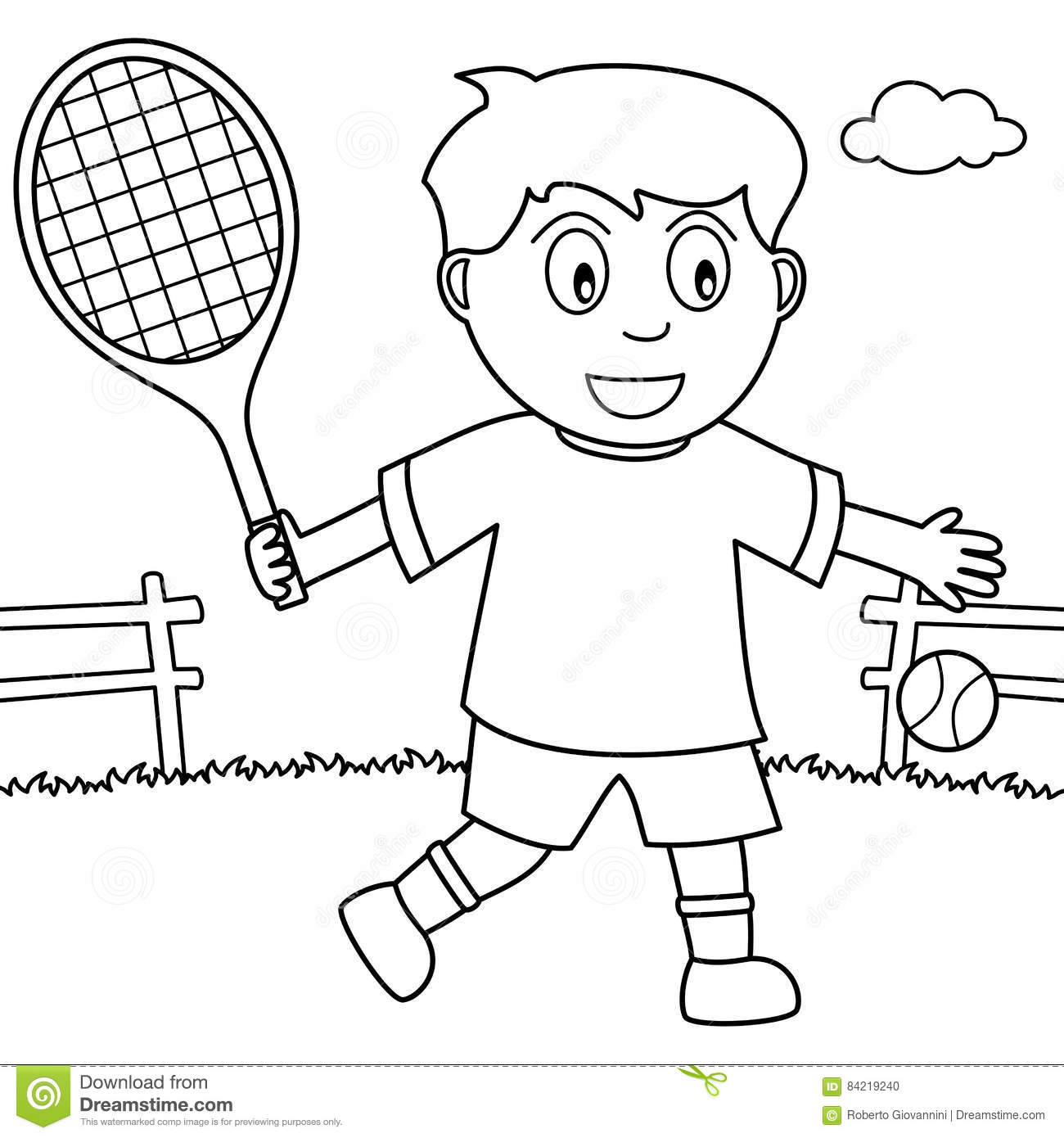 Coloring Boy Playing Tennis In The Park Stock Vector