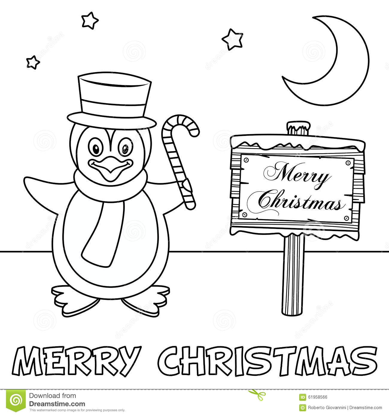 Coloring Christmas Card With Penguin Stock Vector Image