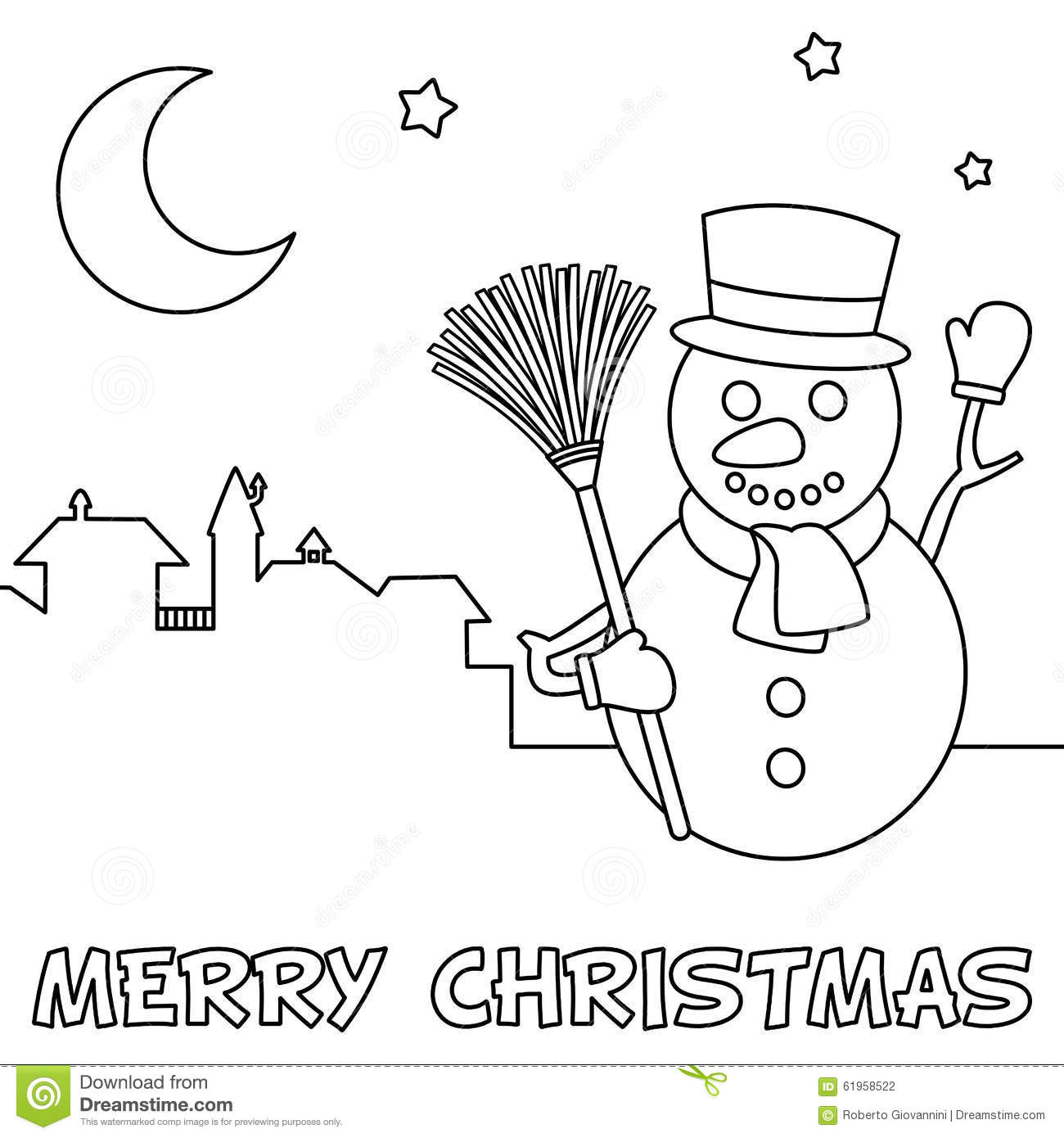 Coloring Christmas Card With Snowman Stock Vector