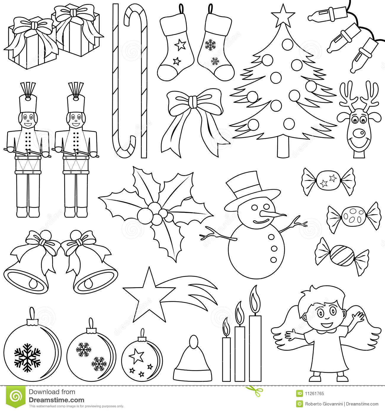 Coloring Christmas Elements Stock Vector