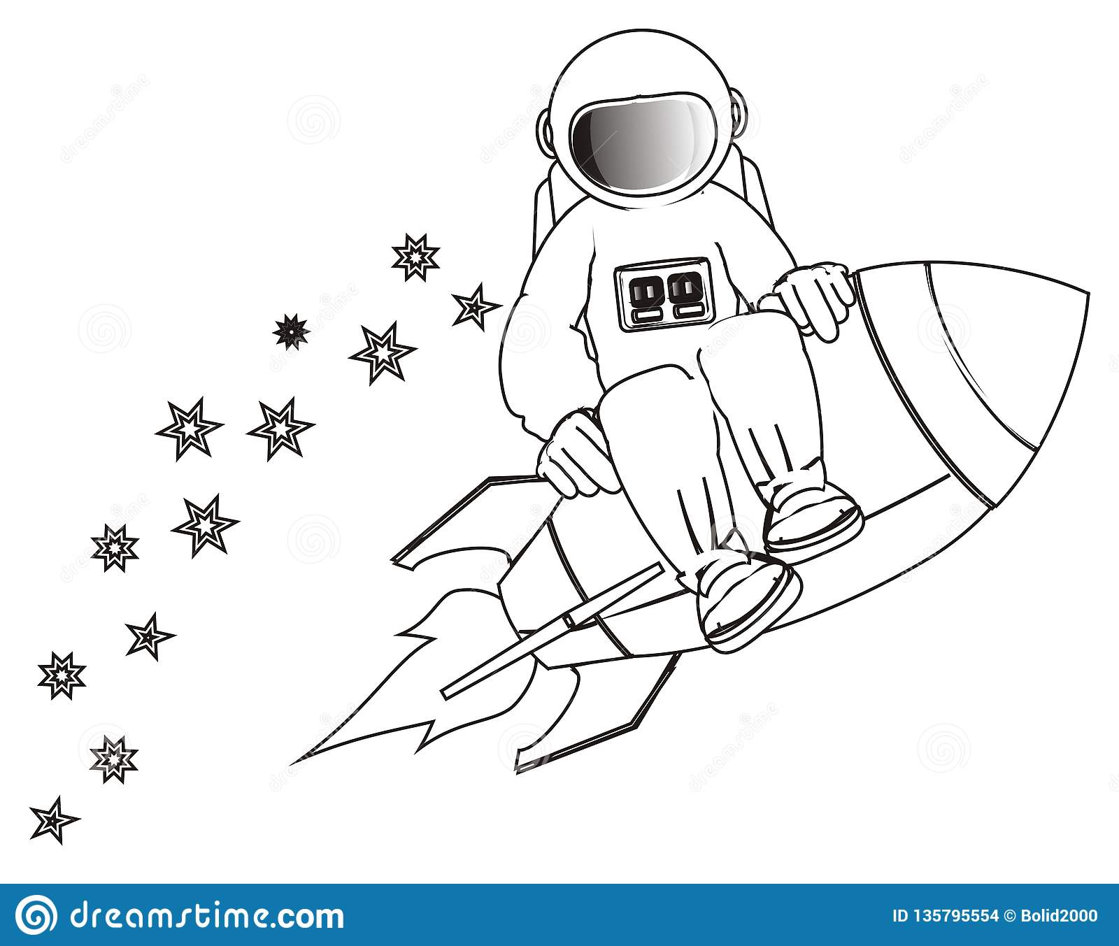 Coloring Cosmonaut Flying On Rocket Stock Illustration