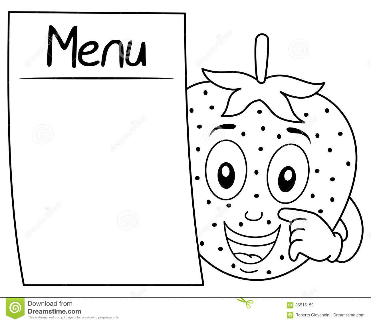 Coloring Cute Strawberry With Blank Menu Stock Vector