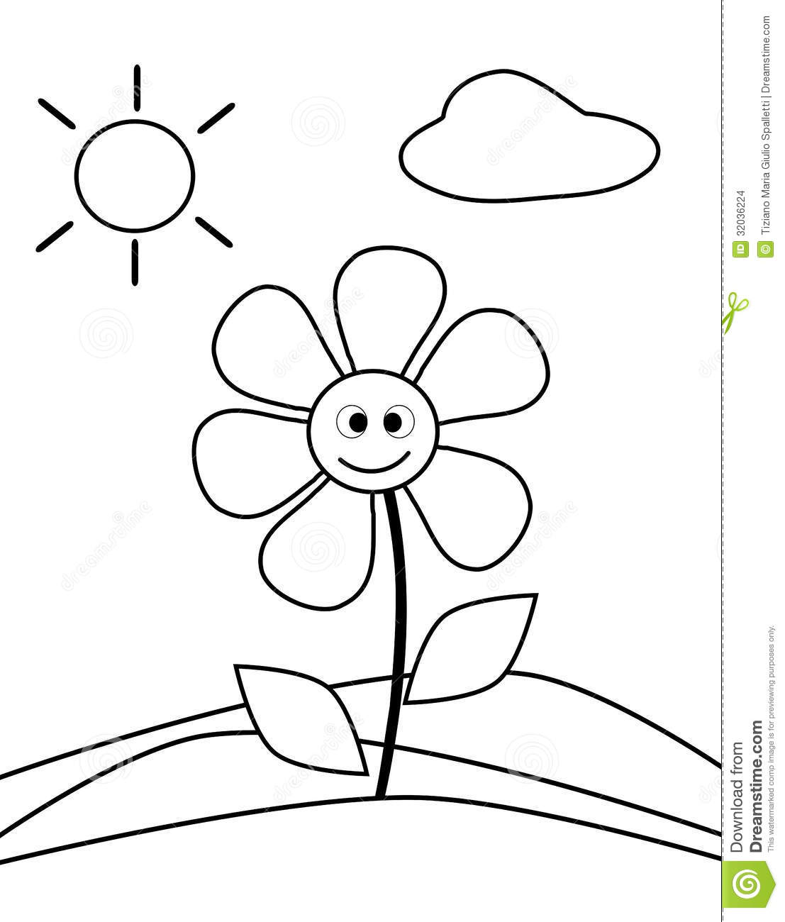 Coloring Flower Stock Photo Illustration Of Closeup