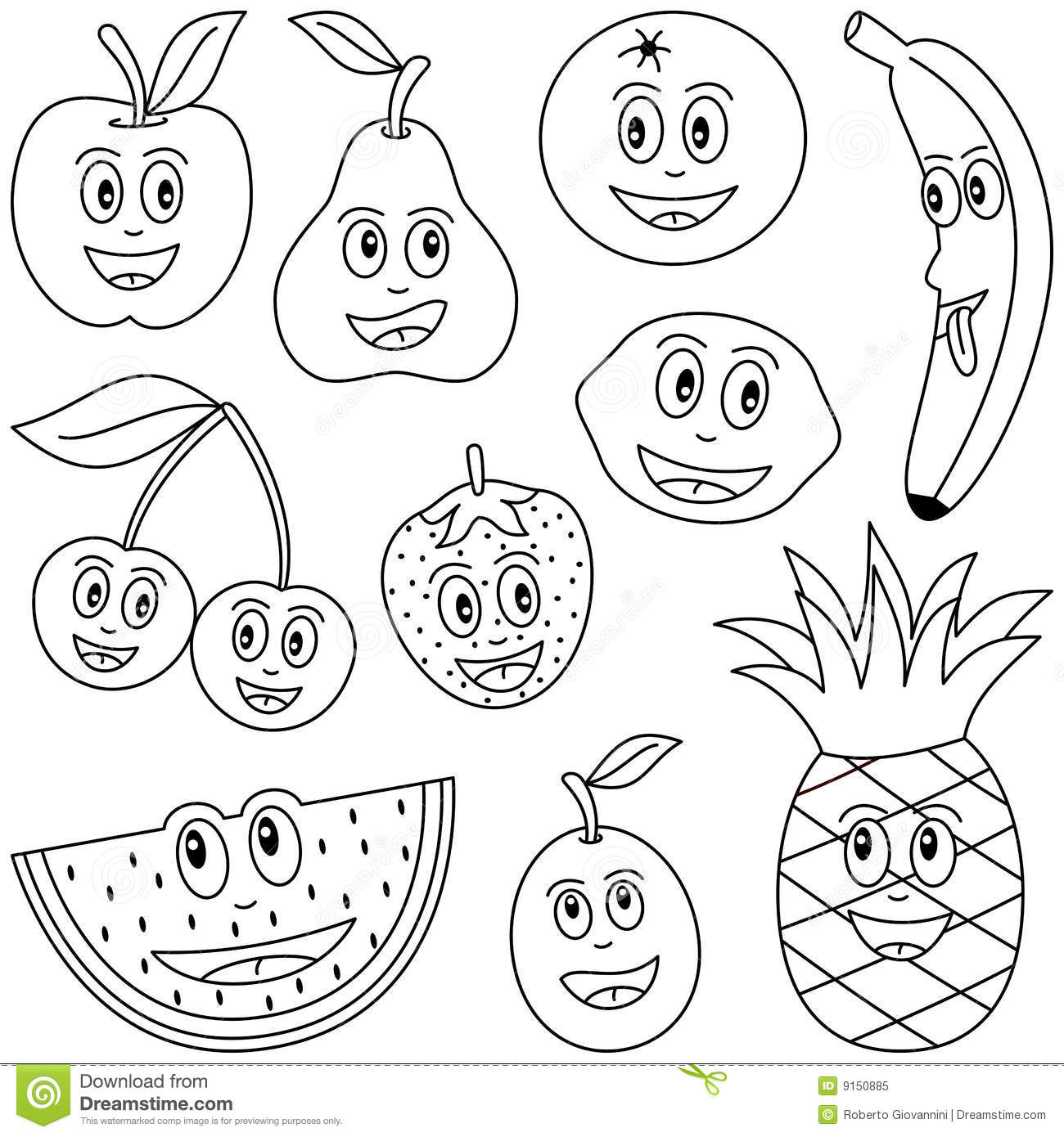 Coloring Fruit For Kids Stock Vector Illustration Oft